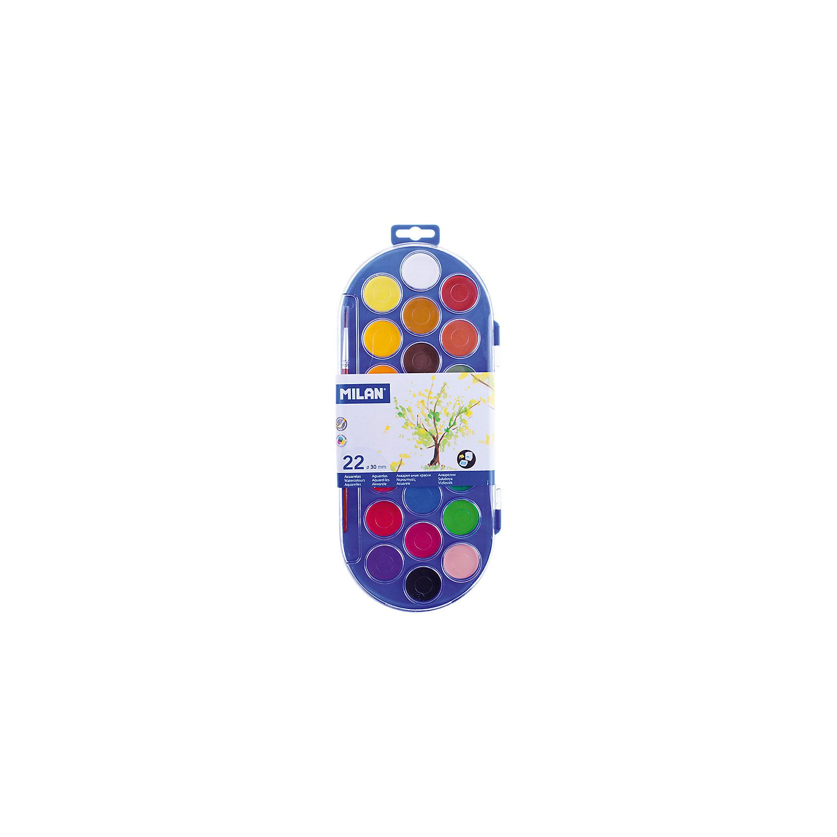 Акварель 22 цвета Milan, с кистьюРисование и лепка<br>Тип: акварель<br>Медовая: да<br>Количество цветов: 22<br>Кисть: есть<br>Емкость: кювет<br>Наличие европодвеса: есть<br>Упаковка ед. товара: пластик<br>Перламутровый эффект: нет<br>Флуоресцентный эффект: нет<br>Золото: нет<br>Серебро: нет<br>Краски представлены в компактных круглых таблетках. Светоустойчивы, изготовлены из  нетоксичных пигментов<br><br>Ширина мм: 15<br>Глубина мм: 310<br>Высота мм: 130<br>Вес г: 255<br>Возраст от месяцев: 36<br>Возраст до месяцев: 2147483647<br>Пол: Унисекс<br>Возраст: Детский<br>SKU: 7044193