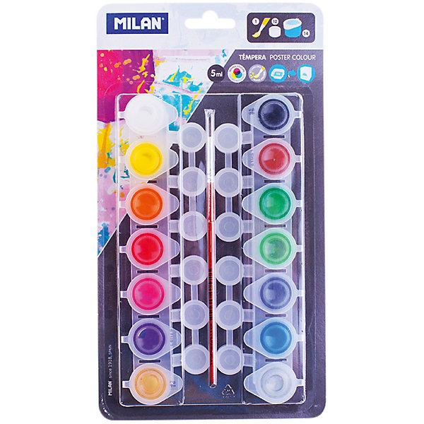 Гуашь 14 цветов 5мл Milan, с кистьюРисование и лепка<br>Характеристики:<br><br>• ёмкость банки:5мл.;<br>• количество: 14шт.; <br>• упаковка: коробка;<br>• размер упаковки: 28х15х2см.;<br>• вес упаковки: 160г.;<br>• для детей в возрасте: от 7лет.;<br>• страна производитель: Испания.<br><br>Набор красок «Гуашь» бренда «Milan» (Милан)» станет отличным приобретением для школьников. Он создан из качественных, экологически чистых материалов, что очень важно для детских товаров.<br><br> Набор отлично подойдёт для ребятишек, любящих рисовать. В него входят двенадцать разноцветных баночек с красками и кисточка. Цвета очень яркие и насыщенные. Без лишних усилий создают плотный яркий слой на любой поверхности. Хорошо смешиваются и разводятся водой. Упаковкой служит коробка с красивым рисунком.<br><br>Использование набора поможет детям развивать цветовое восприятие, мелкую моторику, чувство самовыражения, фантазию и аккуратность.<br> <br>Краски «Гуашь» «Milan» (Милан)» можно купить в нашем интернет-магазине.<br>Ширина мм: 275; Глубина мм: 150; Высота мм: 20; Вес г: 179; Возраст от месяцев: 84; Возраст до месяцев: 2147483647; Пол: Унисекс; Возраст: Детский; SKU: 7044197;
