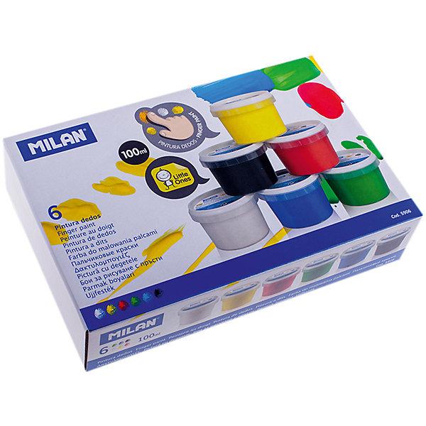 Краски пальчиковые 6 цветов 600г MilanПальчиковые краски<br>Характеристики:<br><br>• вес банки:100г.;<br>• количество: 6шт.; <br>• упаковка: картон;<br>• размер упаковки: 23х15х5,5см.;<br>• вес упаковки: 821г.;<br>• для детей в возрасте: от 2лет.;<br>• страна производитель: Испания.<br><br>Набор пальчиковых красок бренда Milan (Милан) станет отличным приобретением для малышей. Он создан из качественных, экологически чистых материалов, что очень важно для детских товаров.<br><br> Набор отлично подойдёт для детишек, любящих рисовать своими руками, без применения кисточек. Он состоит из шести разноцветных баночек с красками. Цвета очень яркие и насыщенные. Пользоваться ими удобно будет самым маленьким детям, краски легко отмываются водой и изготовлены из пищевых красителей. Без лишних усилий создают плотный яркий слой на любой поверхности. Упаковкой служит коробка с красивым рисунком.<br><br>Использование набора поможет детям развивать цветовое восприятие, мелкую моторику, чувство самовыражения, фантазию и аккуратность.<br> <br>Краски пальчиковые можно купить в нашем интернет-магазине.<br>Ширина мм: 230; Глубина мм: 150; Высота мм: 55; Вес г: 821; Возраст от месяцев: 36; Возраст до месяцев: 2147483647; Пол: Унисекс; Возраст: Детский; SKU: 7044198;