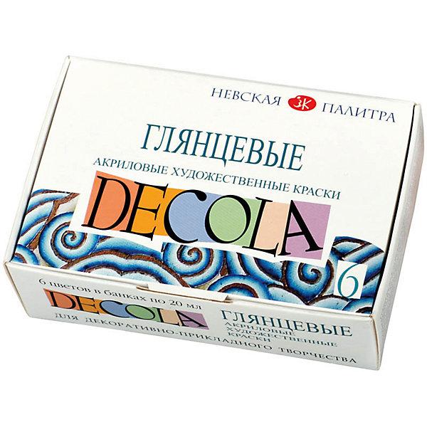 Краски акриловые 6цветов 20мл Decola, глянцевыеКраски и кисточки<br>Тип: краски акриловые<br>Количество цветов: 6 <br>Емкость: баночка<br>Объем общий: 120<br>Объем емкости: 20<br>Упаковка ед. товара: картонная коробка<br>Наличие европодвеса: нет<br>Флуоресцентный эффект: нет<br>Перламутровый эффект: нет<br>Эффект металлик: нет<br>Набор художественных акриловых красок из 8 цветов. Отлично наносятся на различные поверхности: картон, грунтованный холст, плотную бумагу, металл, кожу, дерево. Прекрасно подходят для декоративных и дизайнерских работ. Упаковка - картонная коробка<br><br>Ширина мм: 120<br>Глубина мм: 80<br>Высота мм: 40<br>Вес г: 179<br>Возраст от месяцев: 84<br>Возраст до месяцев: 2147483647<br>Пол: Унисекс<br>Возраст: Детский<br>SKU: 7044204