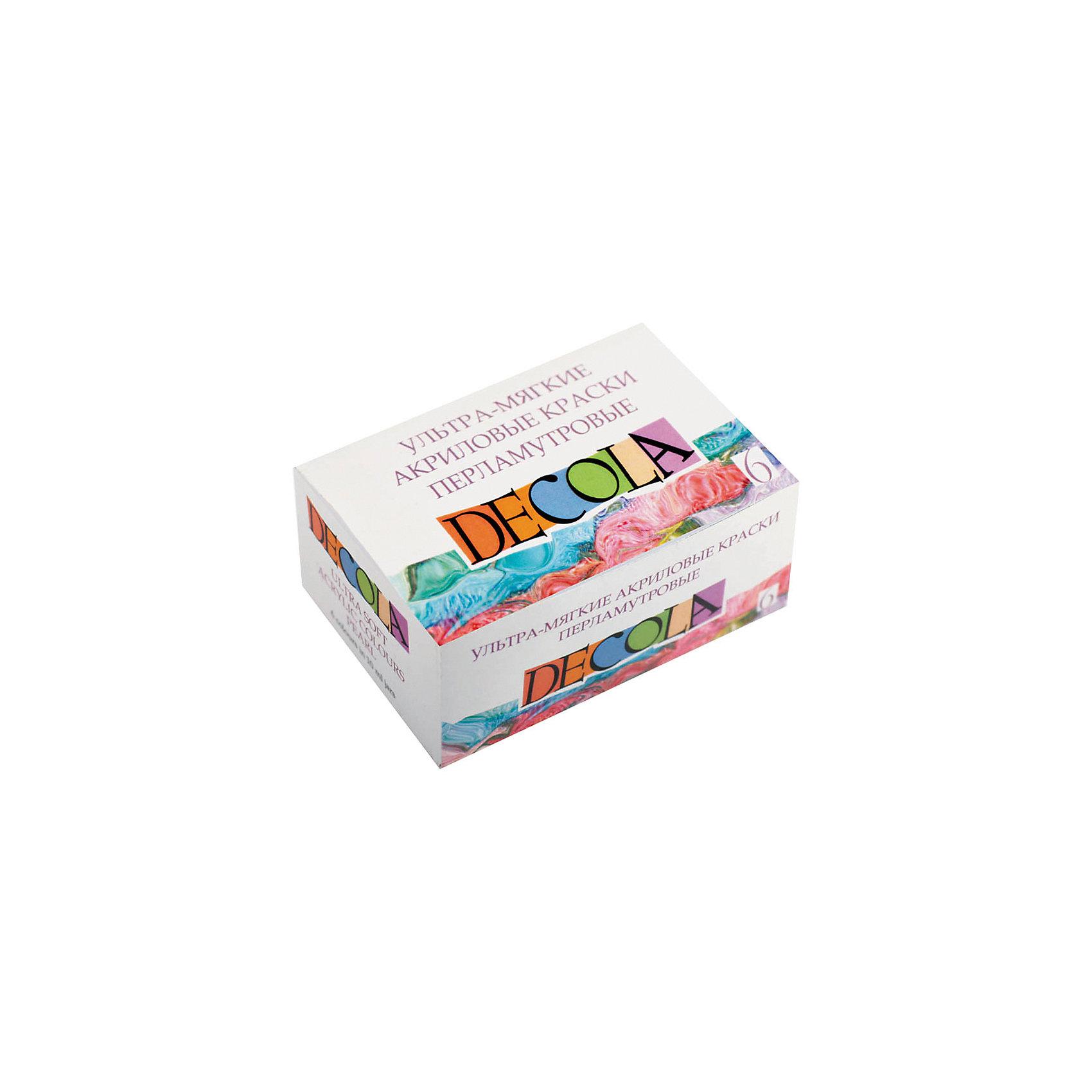 Краски акриловые 6цветов 10мл Decola, ультра-мягкие, перламутрКраски и кисточки<br>Тип: краски акриловые<br>Количество цветов: 6 <br>Емкость: баночка<br>Объем общий: 60<br>Объем емкости: 10<br>Упаковка ед. товара: картонная коробка<br>Наличие европодвеса: нет<br>Флуоресцентный эффект: нет<br>Перламутровый эффект: есть<br>Эффект металлик: нет<br>Предназначены для декоративно-прикладных работ на различных поверхностях: картоне, дереве, ткани, керамике, металле и т.д.<br><br>Ширина мм: 100<br>Глубина мм: 100<br>Высота мм: 20<br>Вес г: 46<br>Возраст от месяцев: 84<br>Возраст до месяцев: 2147483647<br>Пол: Унисекс<br>Возраст: Детский<br>SKU: 7044206