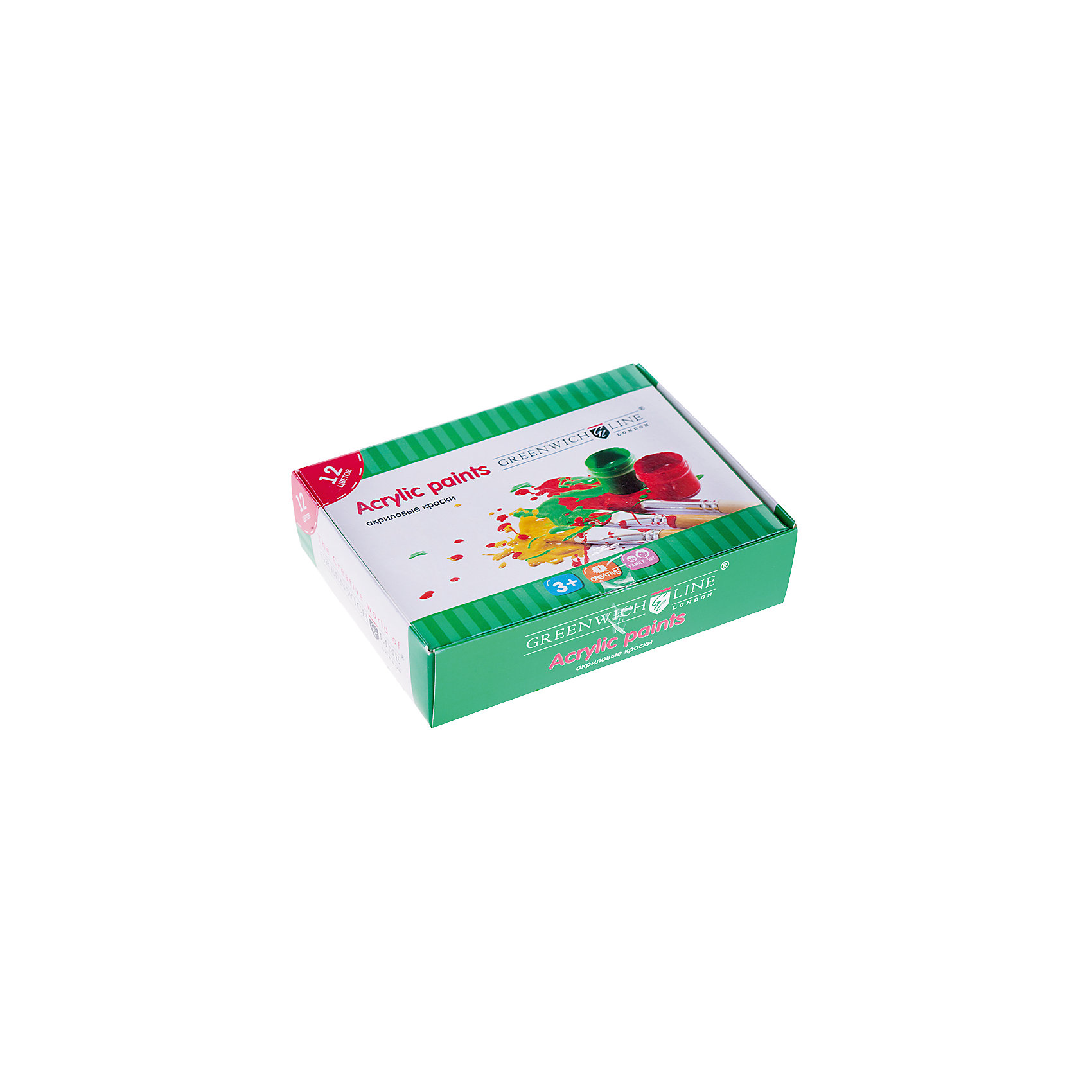 Краски акриловые 12цветов 20мл Greenwich LineКраски и кисточки<br>Тип: краски акриловые<br>Количество цветов: 12 <br>Емкость: баночка<br>Объем общий: 240<br>Объем емкости: 20<br>Упаковка ед. товара: картонная коробка<br>Наличие европодвеса: нет<br>Флуоресцентный эффект: нет<br>Перламутровый эффект: нет<br>Эффект металлик: нет<br>Акриловые краски — универсальный материал для творчества. Акриловые краски, как и акварельные, легко разбавляются водой, но после высыхания их уже нельзя размочить, и в этом акрилы сходны с темперой. Акриловые краски применяются в дизайн-графике, рекламе, оформительском искусстве<br><br>Ширина мм: 120<br>Глубина мм: 80<br>Высота мм: 40<br>Вес г: 375<br>Возраст от месяцев: 84<br>Возраст до месяцев: 2147483647<br>Пол: Унисекс<br>Возраст: Детский<br>SKU: 7044207