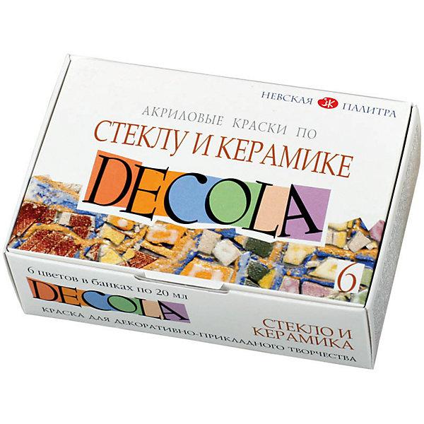 Краски по стеклу и керамике 6 цветов 20мл DecolaКраски и кисточки<br>Тип: краски по стеклу и керамике<br>Количество цветов: 6 <br>Емкость: баночка<br>Объем емкости: 20<br>Объем общий: 120<br>Эффект: нет<br>Упаковка ед. товара: картонная коробка<br>Наличие европодвеса: нет<br>Набор художественных красок по стеклу и керамике из 6 цветов<br><br>Ширина мм: 70<br>Глубина мм: 100<br>Высота мм: 40<br>Вес г: 200<br>Возраст от месяцев: 84<br>Возраст до месяцев: 2147483647<br>Пол: Унисекс<br>Возраст: Детский<br>SKU: 7044208