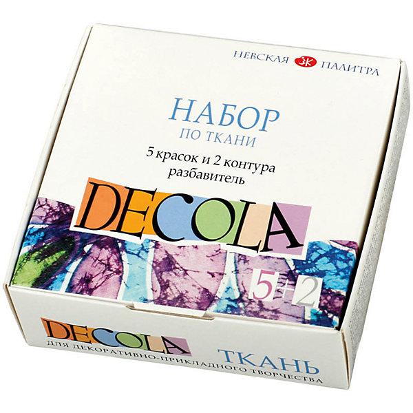 Набор по ткани краски акриловые 5*20мл контуры в тубах 2*18мл разбавитель DecolaКраски и кисточки<br>Тип: набор для декорирования<br>Контуры: да<br>Краски: да<br>Разбавитель: есть<br>Клей: нет<br>Упаковка ед. товара: картонная коробка<br>Наличие европодвеса: нет<br>Набор художественных красок по ткани из 5 цветов. В комплекте контуры, разбавитель. Упаковка - картонная коробка<br><br>Ширина мм: 100<br>Глубина мм: 100<br>Высота мм: 55<br>Вес г: 250<br>Возраст от месяцев: 84<br>Возраст до месяцев: 2147483647<br>Пол: Унисекс<br>Возраст: Детский<br>SKU: 7044209
