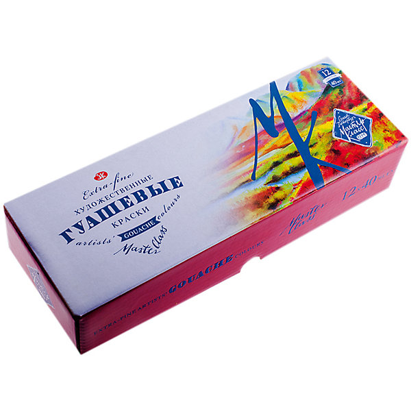 Гуашь 12 цветов 40мл Мастер-КлассРисование и лепка<br>Тип: гуашь<br>Количество цветов: 12 <br>Объем общий: 480<br>Объем емкости: 40<br>Емкость: баночка<br>Упаковка ед. товара: картонная коробка<br>Наличие европодвеса: нет<br>Набор гуашевых красок, 12 цветов.<br>Ширина мм: 260; Глубина мм: 110; Высота мм: 30; Вес г: 975; Возраст от месяцев: 84; Возраст до месяцев: 2147483647; Пол: Унисекс; Возраст: Детский; SKU: 7044226;