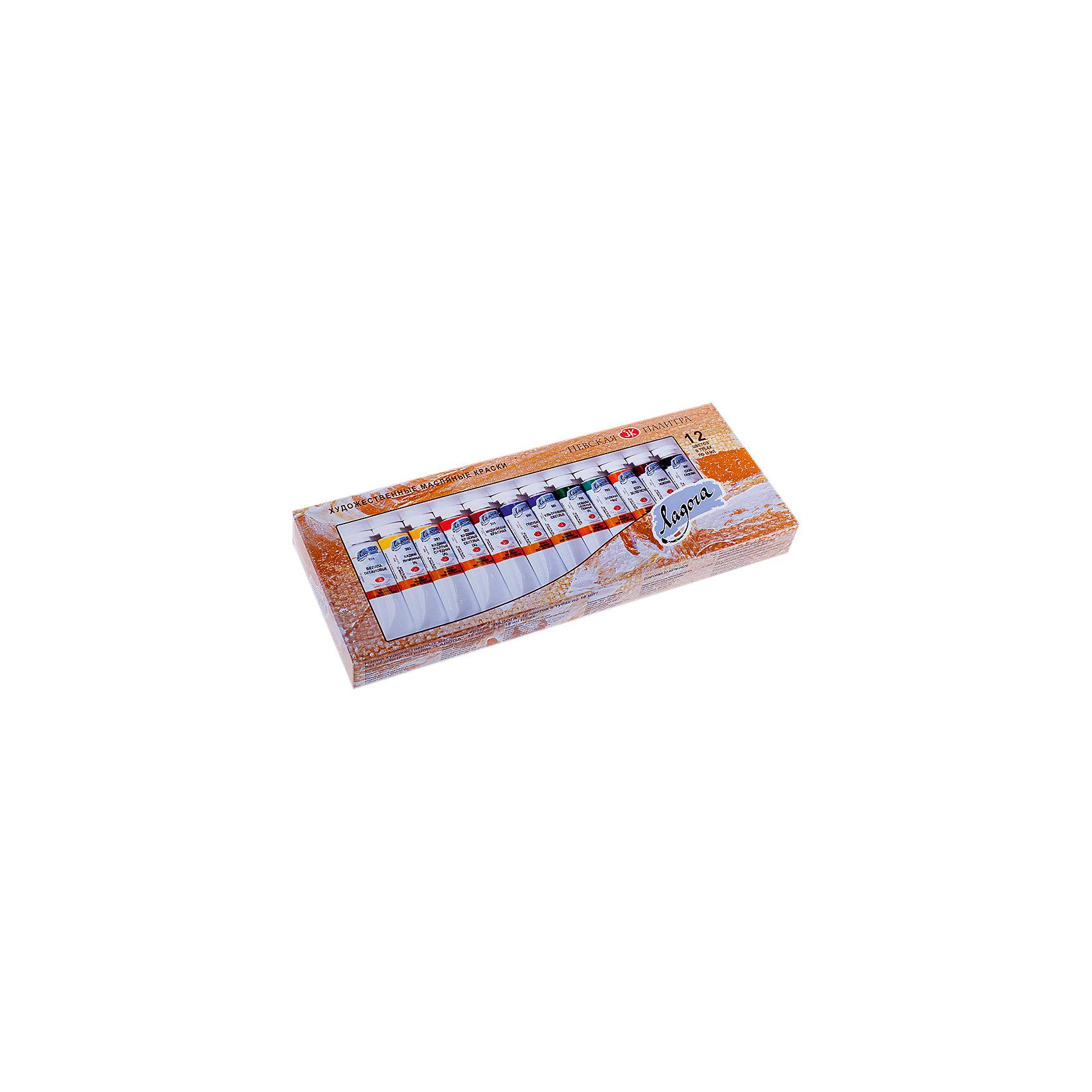Краски масляные 12 цветов Ладога, 18мл/тубаХудожественные краски<br>Тип: масло<br>Количество цветов: 12 <br>Емкость: туба<br>Объем общий: 216<br>Объем емкости: 18<br>Упаковка ед. товара: картонная коробка<br>Наличие европодвеса: нет<br>Состав набора: белила цинковые или белила титановые; кадмий лимонный (А); кадмий желтый светлый (А) или кадмий желтый средний (А); кадмий красный светлый (А) или кадмий красный темный (А); охра красная или английская красная или индийская красная; кобальт синий средний (А) или голубая «ФЦ» или кобальт синий светлый (А); ультрамарин светлый; кобальт зеленый темный (А) или кобальт зеленый светлый (А); виридоновая зеленая или зеленая «ФЦ»; сиена натуральная или охра светлая или охра золотистая; умбра натуральная ленинградская или Сиена жженая; сажа газовая или шунгит<br><br>Ширина мм: 260<br>Глубина мм: 110<br>Высота мм: 30<br>Вес г: 700<br>Возраст от месяцев: 84<br>Возраст до месяцев: 2147483647<br>Пол: Унисекс<br>Возраст: Детский<br>SKU: 7044229