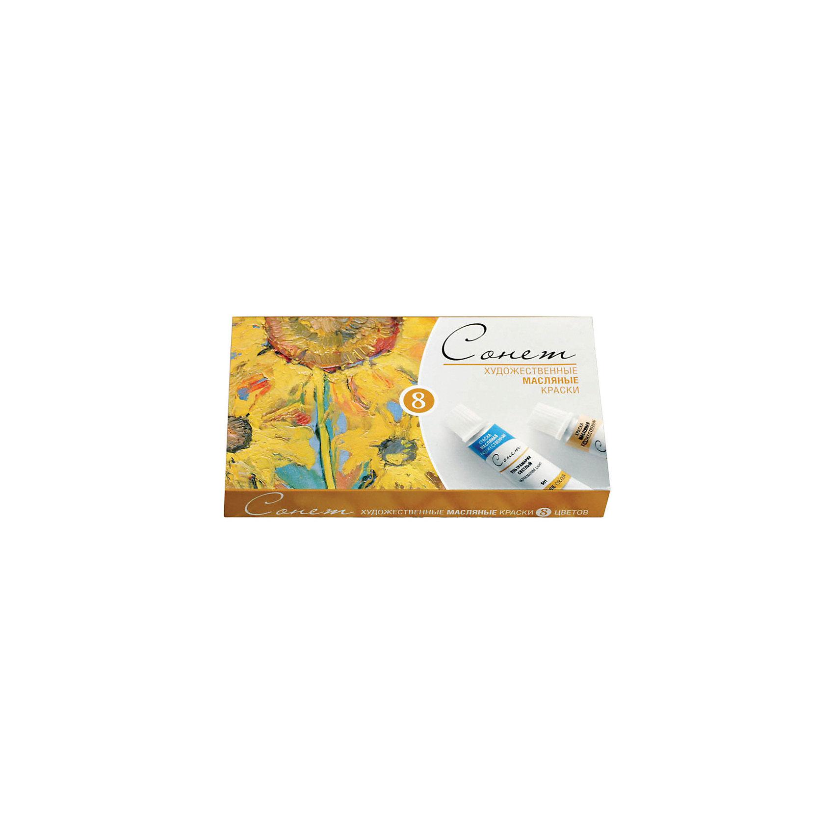 Краски масляные 8 цветов Сонет, 10мл/тубаХудожественные краски<br>Тип: масло<br>Количество цветов: 8 <br>Емкость: туба<br>Объем общий: 80<br>Объем емкости: 10<br>Упаковка ед. товара: картонная коробка<br>Наличие европодвеса: нет<br>Набор художественных масляных красок, 8 цветов.<br><br>Ширина мм: 155<br>Глубина мм: 90<br>Высота мм: 20<br>Вес г: 210<br>Возраст от месяцев: 84<br>Возраст до месяцев: 2147483647<br>Пол: Унисекс<br>Возраст: Детский<br>SKU: 7044230