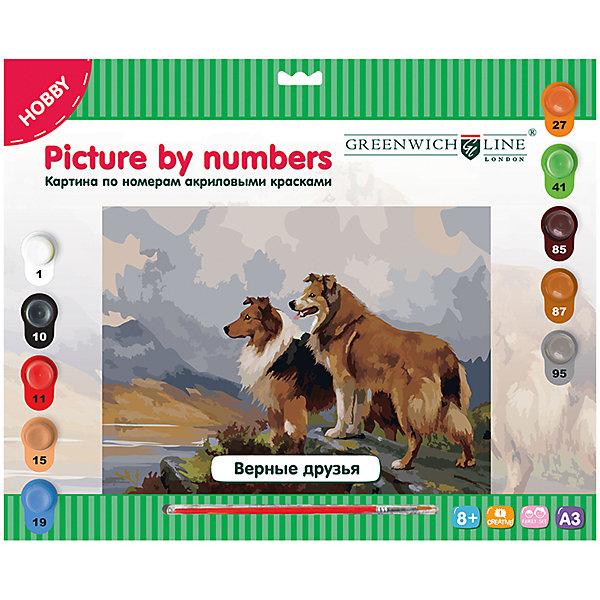 Картина по номерам А3 Верные друзья Greenwich LineРаскраски по номерам<br>Тип: картина по номерам<br>Основа: картон<br>Размер: 29,3*39,2<br>Возраст: старше 8 лет<br>Пол ребенка: универсальные<br>Кисть: есть<br>Краски: акрил<br>Количество цветов: 10 <br>Лист для тренировки: есть<br>Упаковка ед. товара: картонная коробка<br>Наличие европодвеса: есть<br>Картины по номерам - это очень увлекательное занятие, которое будет интересно как детям, так и взрослым. Почувствуйте себя художником, нарисуйте свое произведение. В набор входят: 1 картон с нанесенным контуром, пронумерованный в соответствии с номерами красок; 10 акриловых красок (все краски уже готовы к использованию); 1 кисть из нейлона; 1 лист бумаги для тренировки.<br><br>Ширина мм: 410<br>Глубина мм: 327<br>Высота мм: 25<br>Вес г: 410<br>Возраст от месяцев: 96<br>Возраст до месяцев: 2147483647<br>Пол: Унисекс<br>Возраст: Детский<br>SKU: 7044245