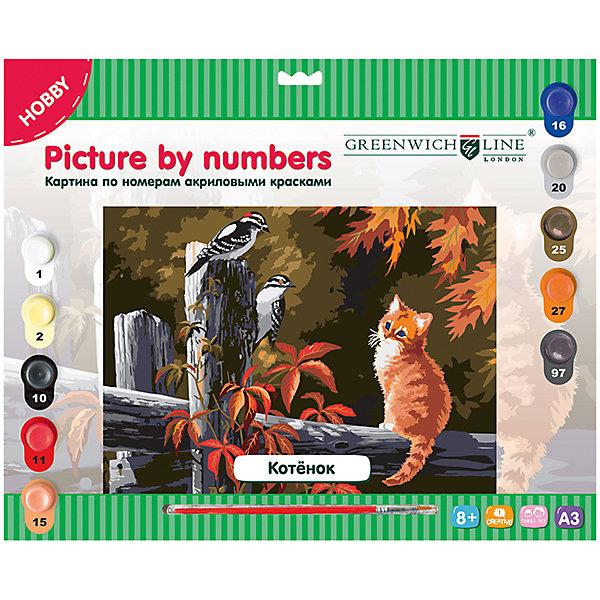 Картина по номерам А3 Котёнок Greenwich LineРаскраски по номерам<br>Характеристики товара:<br><br>• возраст: от 8 лет;<br>• в комплекте: лист с нанесенным контуром, 10 акриловых красок, кисть, тренировочный лист;<br>• формат: А3;<br>• размер: 29,3х39,2 см;<br>• основа: картон;<br>• размер упаковки: 40х33х2,5 см;<br>• страна бренда: Великобритания.<br><br>Набор «Котёнок» от Greenwich Line позволит детям и взрослым создать своими руками удивительную картину, на которой изображен очаровательный рыжий котенок, следящий за птицами. Готовая работа станет настоящим украшением дома. В комплект входят акриловые краски (10 цветов), нейлоновая кисточка и лист для тренировочных работ. Для создания картины потребуется правильно подобрать краску, соответствующую номеру, нанесенному на лист-основу. Двойные номера обозначают номера цветов, которые нужно смешать для получения правильного оттенка.<br><br>Картину по номерам А3 «Котёнок» Greenwich Line (Гринвич Лайн) можно купить в нашем интернет-магазине.<br>Ширина мм: 410; Глубина мм: 327; Высота мм: 25; Вес г: 410; Возраст от месяцев: 96; Возраст до месяцев: 2147483647; Пол: Унисекс; Возраст: Детский; SKU: 7044246;