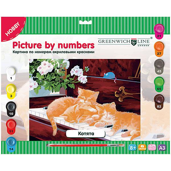 Картина по номерам А3 Котята Greenwich LineРаскраски по номерам<br>Характеристики товара:<br><br>• возраст: от 8 лет;<br>• в комплекте: лист с нанесенным контуром, 10 акриловых красок, кисть, тренировочный лист;<br>• формат: А3;<br>• размер: 29,3х39,2 см;<br>• основа: картон;<br>• размер упаковки: 40х33х2,5 см;<br>• страна бренда: Великобритания.<br><br>С набором «Котята» от Greenwich Line художник сможет создать восхитительную картину, изображающую трех рыжих котят, спящих рядом друг с другом. В комплект входят акриловые краски (10 цветов), кисть из нейлона и тренировочный лист. На лист-основу из картона нанесены контуры картинки и номера, которые необходимо сопоставить с номерами красок. Двойные номера указывают на необходимость смешивания двух обозначенных оттенков для получения нужного цвета.<br><br>Картину по номерам А3 «Котята» Greenwich Line (Гринвич Лайн) можно купить в нашем интернет-магазине.<br>Ширина мм: 410; Глубина мм: 327; Высота мм: 25; Вес г: 410; Возраст от месяцев: 96; Возраст до месяцев: 2147483647; Пол: Унисекс; Возраст: Детский; SKU: 7044248;