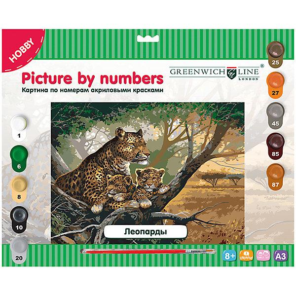 Картина по номерам А3 Леопарды Greenwich LineРаскраски по номерам<br>Характеристики товара:<br><br>• возраст: от 8 лет;<br>• в комплекте: лист с нанесенным контуром, 10 акриловых красок, кисть, тренировочный лист;<br>• формат: А3;<br>• размер: 29,3х39,2 см;<br>• основа: картон;<br>• размер упаковки: 40х33х2,5 см;<br>• страна бренда: Великобритания.<br><br>Создание картины по номерам - увлекательное занятие, которое придется по вкусу и детям, и взрослым. В комплект входят кисть из нейлона, 10 цветов акриловых красок и тренировочный лист. Картину необходимо раскрасить по номерам, нанесенным на контур. Двойные номера обозначают необходимость смешивания двух цветов для создания нового оттенка. На готовой картине изображены три леопарда, отдыхающих на ветках дерева.<br><br>Картину по номерам А3 «Леопарды» Greenwich Line (Гринвич Лайн) можно купить в нашем интернет-магазине.<br>Ширина мм: 410; Глубина мм: 327; Высота мм: 25; Вес г: 410; Возраст от месяцев: 96; Возраст до месяцев: 2147483647; Пол: Унисекс; Возраст: Детский; SKU: 7044249;
