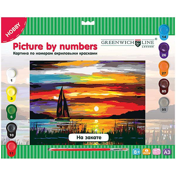 Картина по номерам А3 На закате Greenwich LineРаскраски по номерам<br>Характеристики товара:<br><br>• возраст: от 8 лет;<br>• в комплекте: лист с нанесенным контуром, 10 акриловых красок, кисть, тренировочный лист;<br>• формат: А3;<br>• размер: 29,3х39,2 см;<br>• основа: картон;<br>• размер упаковки: 40х33х2,5 см;<br>• страна бренда: Великобритания.<br><br>Набор «На закате» позволит начинающему художнику создать удивительную картину с изображением парусника на закате солнца. Небо, выполненное в разных оттенках, станет настоящим украшением для любого интерьера. Для правильного раскрашивания необходимо следовать инструкции и правильно подбирать цвета. Двойные номера подскажут, какие цвета нужно смешать для получения правильного оттенка. В комплект входят 10 акриловых красок, кисть из нейлона и тренировочный лист.<br><br>Картину по номерам А3 «На закате» Greenwich Line (Гринвич Лайн) можно купить в нашем интернет-магазине.<br>Ширина мм: 400; Глубина мм: 335; Высота мм: 20; Вес г: 347; Возраст от месяцев: 96; Возраст до месяцев: 2147483647; Пол: Унисекс; Возраст: Детский; SKU: 7044251;