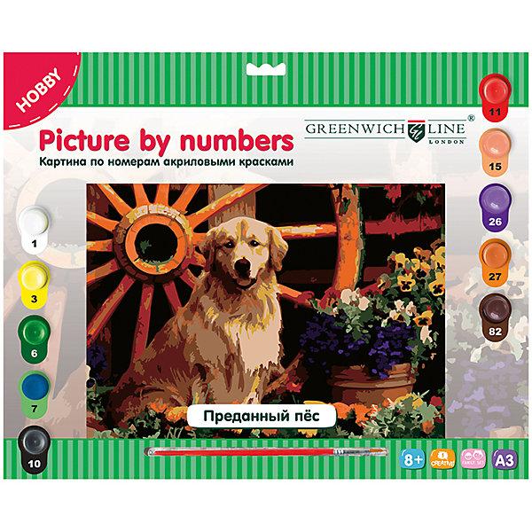 Картина по номерам А3 Преданный пёс Greenwich LineРаскраски по номерам<br>Тип: картина по номерам<br>Основа: картон<br>Размер: 29,3*39,2<br>Возраст: старше 8 лет<br>Пол ребенка: универсальные<br>Кисть: есть<br>Краски: акрил<br>Количество цветов: 10 <br>Лист для тренировки: есть<br>Упаковка ед. товара: картонная коробка<br>Наличие европодвеса: есть<br>Картины по номерам - это очень увлекательное занятие, которое будет интересно как детям, так и взрослым. Почувствуйте себя художником, нарисуйте свое произведение. В набор входят: 1 картон с нанесенным контуром, пронумерованный в соответствии с номерами красок; 10 акриловых красок (все краски уже готовы к использованию); 1 кисть из нейлона; 1 лист бумаги для тренировки.<br><br>Ширина мм: 400<br>Глубина мм: 330<br>Высота мм: 25<br>Вес г: 408<br>Возраст от месяцев: 96<br>Возраст до месяцев: 2147483647<br>Пол: Унисекс<br>Возраст: Детский<br>SKU: 7044252