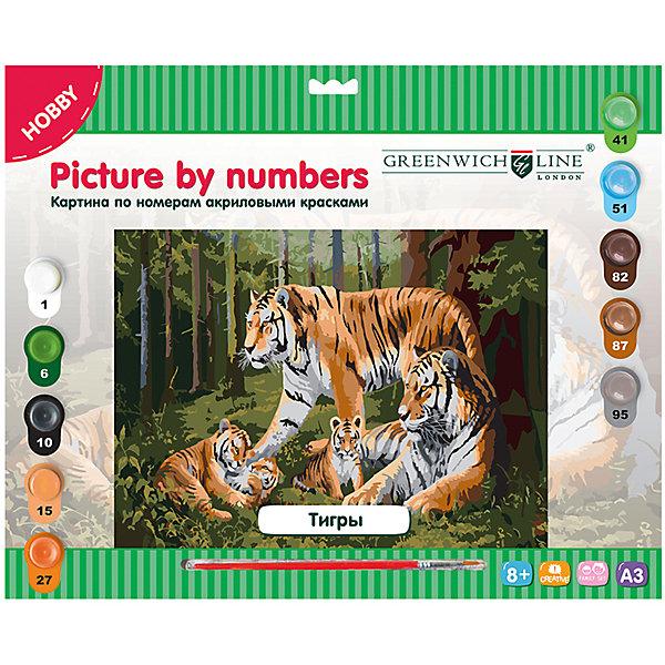 Картина по номерам А3 Тигры Greenwich LineРаскраски по номерам<br>Характеристики товара:<br><br>• возраст: от 8 лет;<br>• в комплекте: лист с нанесенным контуром, 10 акриловых красок, кисть, тренировочный лист;<br>• формат: А3;<br>• размер: 29,3х39,2 см;<br>• основа: картон;<br>• размер упаковки: 40х33х2,5 см;<br>• страна бренда: Великобритания.<br><br>Прекрасная картина с изображением семьи тигров отлично украсит дом или станет приятным подарком для близкого человека. Для создания картины необходимо соотнести номера красок с номерами, нанесенными на основу, и раскрасить картинку. Двойные номера укажут, какие оттенки нужно смешать для создания нового цвета. В комплект входят 10 акриловых красок, лист для тренировочных работ и нейлоновая кисточка.<br><br>Картину по номерам А3 «Тигры» Greenwich Line (Гринвич Лайн) можно купить в нашем интернет-магазине.<br>Ширина мм: 405; Глубина мм: 327; Высота мм: 25; Вес г: 410; Возраст от месяцев: 96; Возраст до месяцев: 2147483647; Пол: Унисекс; Возраст: Детский; SKU: 7044254;