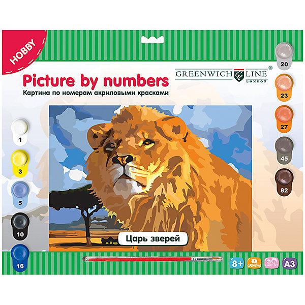 Картина по номерам А3 Царь зверей Greenwich LineРаскраски по номерам<br>Характеристики товара:<br><br>• возраст: от 8 лет;<br>• в комплекте: лист с нанесенным контуром, 10 акриловых красок, кисть, тренировочный лист;<br>• формат: А3;<br>• размер: 29,3х39,2 см;<br>• основа: картон;<br>• размер упаковки: 40х33х2,5 см;<br>• страна бренда: Великобритания.<br><br>«Царь зверей» - набор, предназначенный для создания картины по номерам акриловыми красками. На основу из картона нанесены контуры картины и номера, соответствующие номерам красок. Для правильного раскрашивания двойных номеров потребуется смешать два цвета на отдельной палитре. В комплект входят 10 цветов акриловых красок, нейлоновая кисть и лист для тренировки. Готовая работа с изображением грозного льва станет прекрасным украшением для любой комнаты.<br><br>Картину по номерам А3 «Царь зверей» Greenwich Line (Гринвич Лайн) можно купить в нашем интернет-магазине.<br>Ширина мм: 405; Глубина мм: 327; Высота мм: 25; Вес г: 410; Возраст от месяцев: 96; Возраст до месяцев: 2147483647; Пол: Унисекс; Возраст: Детский; SKU: 7044255;