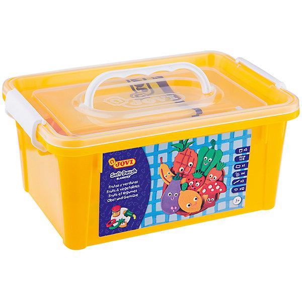 Набор для лепки Огород 5 цветов*50г + аксессуары JOVIНаборы для лепки<br>Количество цветов: 5<br>Вес нетто: 250<br>Возраст: старше 2 лет<br>Затвердевает на воздухе: да<br>Инструменты: есть<br>Формочки: есть<br>Упаковка ед. товара: пластиковый контейнер<br>Большой набор мягкой детской пасты Blandiver с инструментами для лепки, которые специально подобраны для первых опытов лепки с учетом возможностей ребенка раннего возраста, в пластиковом чемоданчике. Пять ярких цветов из основной палитры - белый, желтый, красный, синий, зеленый в баночках по 50 гр объемом 70 мл. В наборе также 12 формочек в виде овощей и фруктов, 4 шприца для формирования пасты, 3 пластиковых стека и клеенка для лепки. Blandiver - мягкая игровая детская паста для лепки с малышами от 2х лет (аналог соленого теста). Натуральный продукт на основе муки, соли и воды. Безвредная, но с неприятным соленым вкусом. Супер мягкая, очень свежая по текстуре,приятная на ощупь, не липкая. Пищевые красители, исключительно безопасный состав. Не имеет химического запаха. Паста легко принимает нужную форму, идеально подходит для маленьких слабых детских рук и предназначена для знакомства ребенка с лепкой и создания простых фигурок руками или с помощью формочек и экструдеров. Помогает развивать мелкую моторику, воображение и интуицию ребенка. Затвердевает на воздухе, сохраняет яркий цвет. После высыхания паста легко снимается влажной губкой или щеткой с одежды, ковров и др. поверхностей, не оставляя следов. Страна производства Испания.<br><br>Ширина мм: 220<br>Глубина мм: 170<br>Высота мм: 90<br>Вес г: 795<br>Возраст от месяцев: 24<br>Возраст до месяцев: 2147483647<br>Пол: Унисекс<br>Возраст: Детский<br>SKU: 7044265