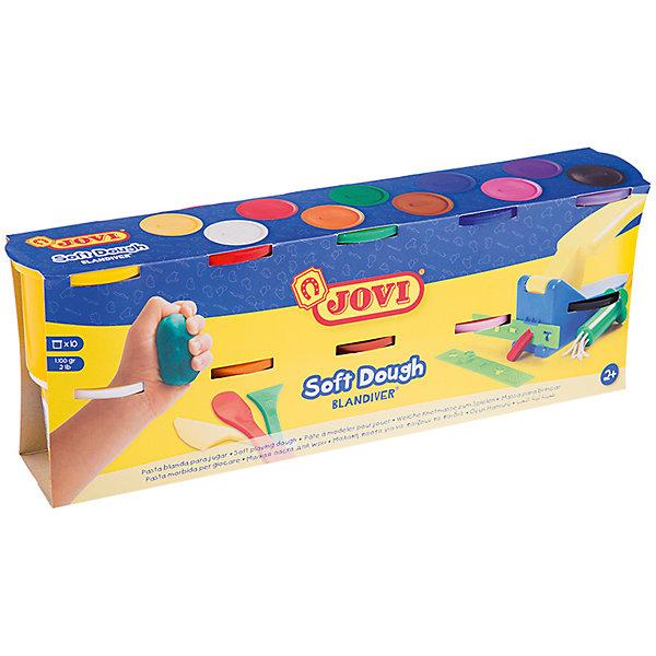 Масса для лепки 10 цветов*110г JOVIТесто для лепки<br>Количество цветов: 10 <br>Вес нетто: 1100<br>Возраст: старше 2 лет<br>Затвердевает на воздухе: да<br>Инструменты: нет<br>Формочки: нет<br>Упаковка ед. товара: картонная коробка<br>Blandiver - мягкая игровая детская паста для лепки с малышами (аналог соленого теста). Сертифицирована от 2х лет. Натуральный продукт на основе муки, соли и воды. Безвредная, но с неприятным соленым вкусом. Супер мягкая, очень свежая по текстуре,приятная на ощупь, не липкая. Пищевые красители, исключительно безопасный состав. Не имеет химического запаха. Паста легко принимает нужную форму, идеально подходит для маленьких слабых детских рук и предназначена для знакомства ребенка с лепкой и создания простых фигурок руками или с помощью формочек и экструдеров. Помогает развивать мелкую моторику, воображение и интуицию ребенка. Затвердевает на воздухе, сохраняет яркий цвет. Расширенная палитра в 10 цветов (белый, желтый, красный, зеленый, синий, фиолетовый, оранжевый, розовый, коричневый, черный), которые легко смешивать между собой, разбудят фантазию малыша и помогут ему продолжить знакомство с многообразием цветов и оттенков и дальнейшее развитие навыков лепки. Паста по 110 гр в банках емкостью 125 мл. После высыхания паста легко снимается влажной губкой или щеткой с одежды, ковров и др. поверхностей, не оставляя следов. Страна производства Испания.<br>Ширина мм: 170; Глубина мм: 110; Высота мм: 40; Вес г: 1432; Возраст от месяцев: 24; Возраст до месяцев: 2147483647; Пол: Унисекс; Возраст: Детский; SKU: 7044266;