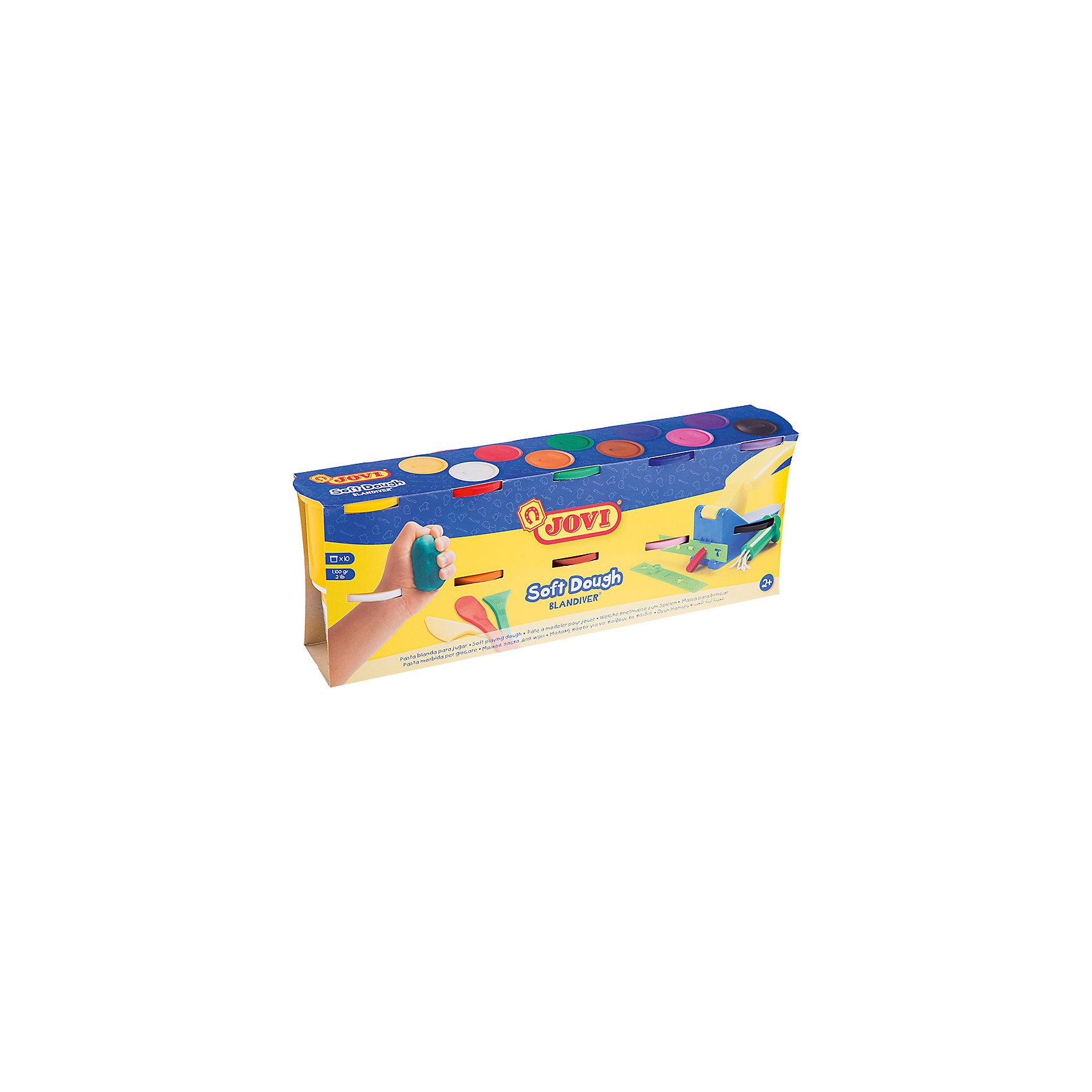 Тесто для лепки 10 цветов*110г JOVIТесто для лепки<br>Количество цветов: 10 <br>Вес нетто: 1100<br>Возраст: старше 2 лет<br>Затвердевает на воздухе: да<br>Инструменты: нет<br>Формочки: нет<br>Упаковка ед. товара: картонная коробка<br>Blandiver - мягкая игровая детская паста для лепки с малышами (аналог соленого теста). Сертифицирована от 2х лет. Натуральный продукт на основе муки, соли и воды. Безвредная, но с неприятным соленым вкусом. Супер мягкая, очень свежая по текстуре,приятная на ощупь, не липкая. Пищевые красители, исключительно безопасный состав. Не имеет химического запаха. Паста легко принимает нужную форму, идеально подходит для маленьких слабых детских рук и предназначена для знакомства ребенка с лепкой и создания простых фигурок руками или с помощью формочек и экструдеров. Помогает развивать мелкую моторику, воображение и интуицию ребенка. Затвердевает на воздухе, сохраняет яркий цвет. Расширенная палитра в 10 цветов (белый, желтый, красный, зеленый, синий, фиолетовый, оранжевый, розовый, коричневый, черный), которые легко смешивать между собой, разбудят фантазию малыша и помогут ему продолжить знакомство с многообразием цветов и оттенков и дальнейшее развитие навыков лепки. Паста по 110 гр в банках емкостью 125 мл. После высыхания паста легко снимается влажной губкой или щеткой с одежды, ковров и др. поверхностей, не оставляя следов. Страна производства Испания.<br><br>Ширина мм: 170<br>Глубина мм: 110<br>Высота мм: 40<br>Вес г: 1432<br>Возраст от месяцев: 24<br>Возраст до месяцев: 2147483647<br>Пол: Унисекс<br>Возраст: Детский<br>SKU: 7044266