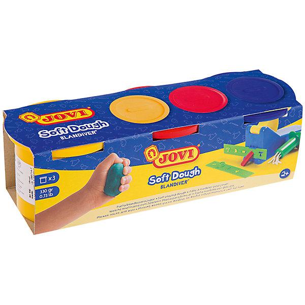 Масса для лепки 3 цвета*110г JOVIТесто для лепки<br>Количество цветов: 3 <br>Вес нетто: 330<br>Возраст: старше 2 лет<br>Затвердевает на воздухе: да<br>Инструменты: нет<br>Формочки: нет<br>Упаковка ед. товара: картонная коробка<br>Blandiver - мягкая игровая детская паста для лепки с малышами (аналог соленого теста). Сертифицирована от 2х лет. Натуральный продукт на основе муки, соли и воды. Безвредная, но с неприятным соленым вкусом. Супер мягкая, очень свежая по текстуре,приятная на ощупь, не липкая. Пищевые красители, исключительно безопасный состав. Не имеет химического запаха. Паста легко принимает нужную форму, идеально подходит для маленьких слабых детских рук и предназначена для знакомства ребенка с лепкой и создания простых фигурок руками или с помощью формочек и экструдеров. Помогает развивать мелкую моторику, воображение и интуицию ребенка. Затвердевает на воздухе, сохраняет яркий цвет. Три ярких цвета из основной палитры - желтый, красный, синий по 110 гр в банках емкостью 125 мл. После высыхания паста легко снимается влажной губкой или щеткой с одежды, ковров и др. поверхностей, не оставляя следов. Страна производства Испания.<br>Ширина мм: 170; Глубина мм: 110; Высота мм: 40; Вес г: 443; Возраст от месяцев: 24; Возраст до месяцев: 2147483647; Пол: Унисекс; Возраст: Детский; SKU: 7044267;