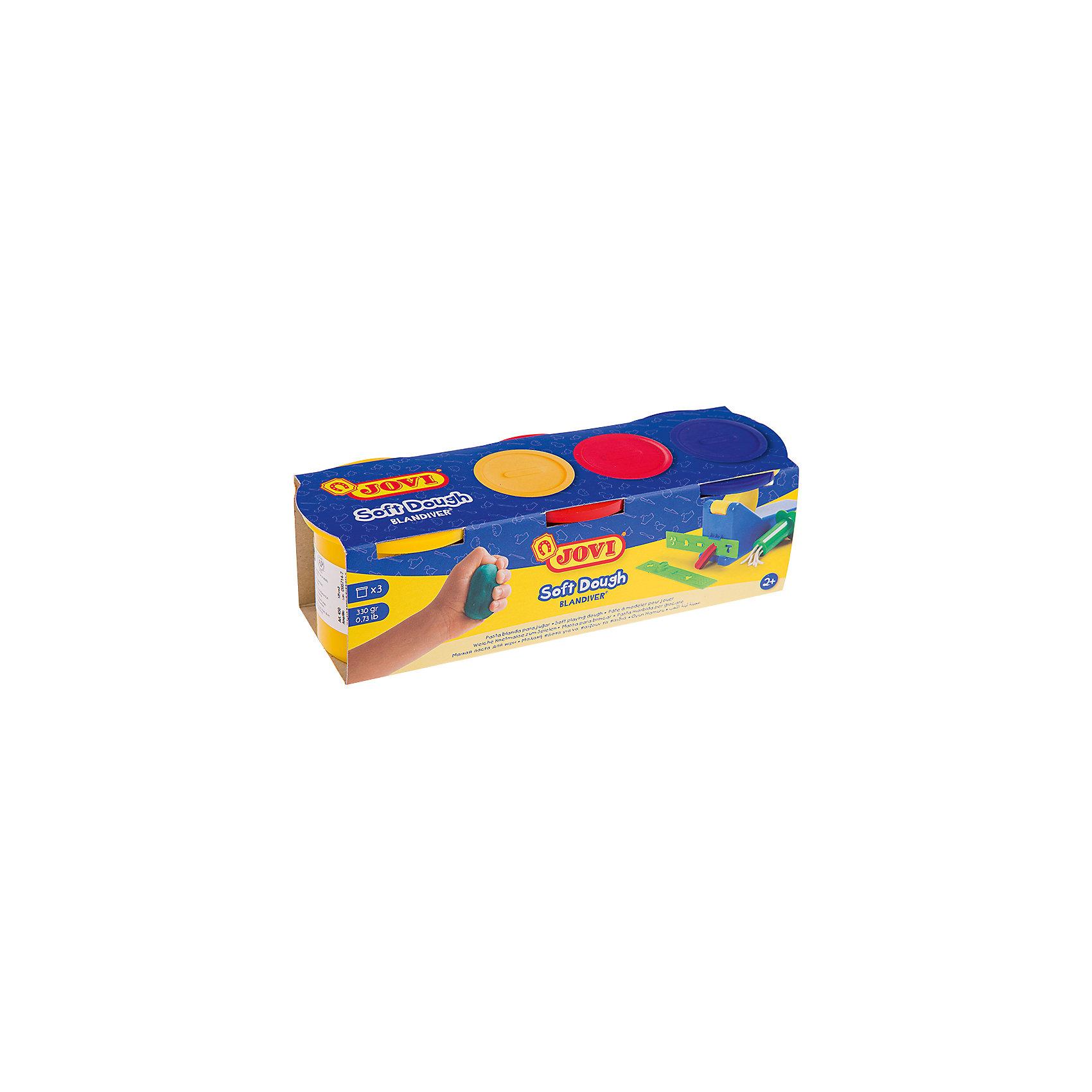Тесто для лепки 3 цвета*110г JOVIТесто для лепки<br>Количество цветов: 3 <br>Вес нетто: 330<br>Возраст: старше 2 лет<br>Затвердевает на воздухе: да<br>Инструменты: нет<br>Формочки: нет<br>Упаковка ед. товара: картонная коробка<br>Blandiver - мягкая игровая детская паста для лепки с малышами (аналог соленого теста). Сертифицирована от 2х лет. Натуральный продукт на основе муки, соли и воды. Безвредная, но с неприятным соленым вкусом. Супер мягкая, очень свежая по текстуре,приятная на ощупь, не липкая. Пищевые красители, исключительно безопасный состав. Не имеет химического запаха. Паста легко принимает нужную форму, идеально подходит для маленьких слабых детских рук и предназначена для знакомства ребенка с лепкой и создания простых фигурок руками или с помощью формочек и экструдеров. Помогает развивать мелкую моторику, воображение и интуицию ребенка. Затвердевает на воздухе, сохраняет яркий цвет. Три ярких цвета из основной палитры - желтый, красный, синий по 110 гр в банках емкостью 125 мл. После высыхания паста легко снимается влажной губкой или щеткой с одежды, ковров и др. поверхностей, не оставляя следов. Страна производства Испания.<br><br>Ширина мм: 170<br>Глубина мм: 110<br>Высота мм: 40<br>Вес г: 443<br>Возраст от месяцев: 24<br>Возраст до месяцев: 2147483647<br>Пол: Унисекс<br>Возраст: Детский<br>SKU: 7044267