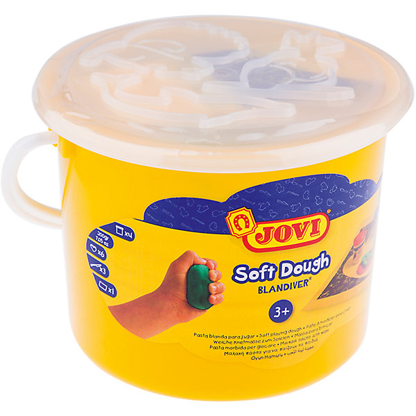 Масса для лепки 4 цвета*50г + аксессуары JOVIТесто для лепки<br>Характеристики:<br><br>• ёмкость банки:70мл.;<br>• количество: 4шт.; <br>• упаковка: пластик;<br>• размер упаковки: 10,5х10,5х8,5см.;<br>• вес упаковки: 450г.;<br>• для детей в возрасте: от 2лет.;<br>• страна производитель: Испания.<br><br>Набор цветного теста для лепки бренда Jovi (Джови) станет отличным приобретением для малышей. Он создан из качественных, экологически чистых материалов, что очень важно для детских товаров.<br><br> Набор отлично подойдёт для детишек, любящих создавать поделки своими руками. В него входят четыре разноцветные баночки с мягкой пастой, шесть формочек, три пластиковых стека и клеёнка. Цвета очень яркие и насыщенные. Паста « Blandiver» (Бландивер) изготовлена на основе муки, соли и воды. Она очень мягкая и приятная на ощупь, а пищевые красители совершенно безопасны для малышей. Пользоваться ей удобно будет самым маленьким детям, легко принимает нужную форму и затвердевает на воздухе. Упаковкой служит красивое пластиковое ведёрко с ручкой.<br><br>Использование набора поможет детям развивать цветовое восприятие, мелкую моторику, чувство самовыражения, фантазию и аккуратность.<br> <br>Цветное тесто для лепки можно купить в нашем интернет-магазине.<br>Ширина мм: 105; Глубина мм: 105; Высота мм: 85; Вес г: 450; Возраст от месяцев: 24; Возраст до месяцев: 2147483647; Пол: Унисекс; Возраст: Детский; SKU: 7044268;