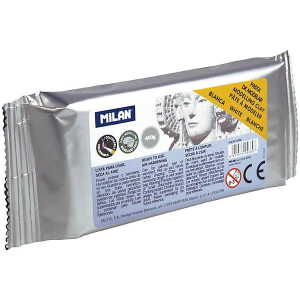 Глина для лепки 400г Milan, белаяНаборы полимерной глины<br>Характеристики товара:<br><br>• возраст: от 7 лет;<br>• тип: глина для лепки;<br>• вес глины: 400 гр.;<br>• цвет глины: белая;<br>• упаковка: вакуумный пакет;<br>• размер упаковки: 15х7х2,5 см.;<br>• вес: 425 гр.;<br>• страна обладатель бренда: Россия.<br><br>Лепка это увлекательное занятие, которое полезно и интересно как детям, так и взрослым.<br><br>Поделки из глины изготавливают как профессионалы, так и любители.<br><br>Для малышей лепка просто необходима для развития мелкой моторики, которая тесно связана с развитием речи и интеллекта.<br><br>Глина для моделирования Milan представлена в белом цвете.<br><br>Глина находится в вакууме и готова к использованию, твердеет на воздухе.<br><br>Может быть окрашена или покрыта лаком.<br><br>Глину для лепки Milan можно купить в нашем интернет-магазине.<br>Ширина мм: 150; Глубина мм: 70; Высота мм: 25; Вес г: 425; Возраст от месяцев: 84; Возраст до месяцев: 2147483647; Пол: Унисекс; Возраст: Детский; SKU: 7044269;
