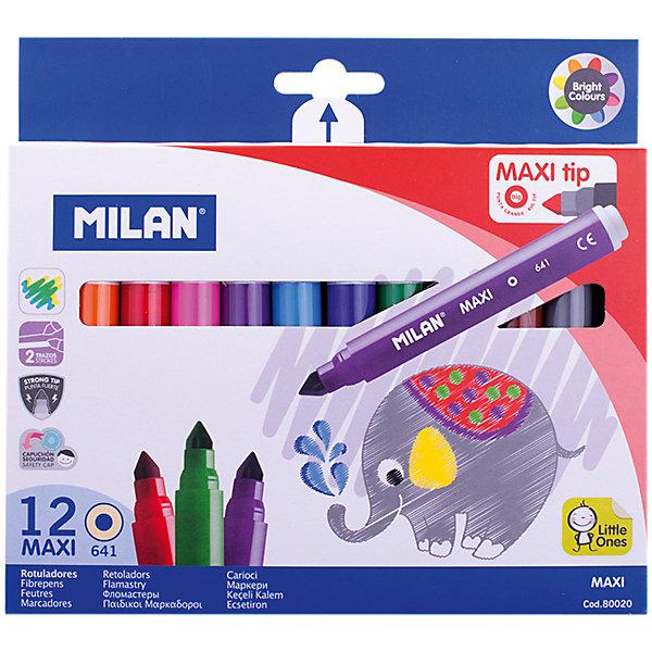 Фломастеры 641 Maxi 12цвета Milan, утолщенныеФломастеры<br>Количество цветов: 12 <br>Толщина корпуса: утолщенная<br>Длина корпуса с колпачком: 135<br>Форма корпуса: круглая<br>Тип наконечника: конический<br>Толщина линии: 1,0-7,0<br>Кол-во пишущих узлов: 1<br>Пол ребенка: универсальные<br>Тип чернил: смываемые<br>Тип поверхности: бумага<br>Диаметр корпуса: 14,3<br>Основа: водная<br>Вентилируемый колпачок: да<br>Упаковка ед. товара: картонная коробка<br>Наличие европодвеса: есть<br>Наличие штрихкода на ед. товара: есть<br>Форма зоны захвата: круглая<br>Набор фломастеров 12 цветов. Фломастеры рисуют яркими насыщенными цветами. Отлично подходят для создания ярких рисунков, поздравительных открыток и плакатов. Фломастеры имеют трехгранный корпус, позволяющий удобно располагать его в руке.<br>Ширина мм: 17; Глубина мм: 185; Высота мм: 170; Вес г: 136; Возраст от месяцев: 36; Возраст до месяцев: 2147483647; Пол: Унисекс; Возраст: Детский; SKU: 7044292;