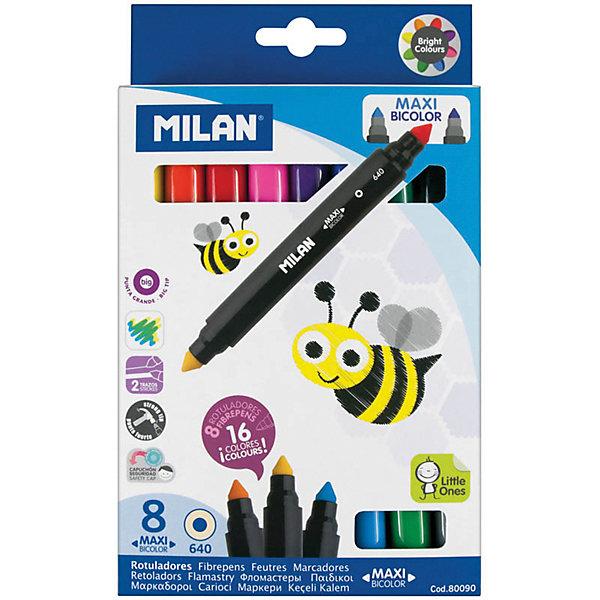 Фломастеры двусторонние 640 Maxi Bi-Colour 16 цветов 8 шт Milan, утолщенныеФломастеры<br>Характеристики:<br><br>• материал: пластик;<br>• количество: 8шт.; <br>• упаковка: картон;<br>• размер упаковки: 17х12,5х21см.;<br>• вес: 165г.;<br>• для детей в возрасте: от 3лет.;<br>• страна производитель: Испания.<br><br>Набор цветных фломастеров «641 Maxi Bi-Colour» (Макси Би Колор) бренда «Milan» (Милан) станет отличным приобретением для школьников. Он создан из качественных, экологически чистых материалов, что очень важно для детских товаров.<br><br> Набор отлично подойдёт для детишек, любящих рисовать. Он состоит из восьми двусторонних фломастеров утолщённой формы. Всего в наборе шестнадцать цветов. Цвета очень яркие и насыщенные. Пользоваться ими удобно будет, не только детям, но и взрослым. Упаковкой служит картонка с красивым рисунком.<br><br>Использование набора позволит ребятам не только выполнять качественно школьные задания, но и создавать свои дизайнерские проекты. Развивать чувство стиля, фантазию и аккуратность.<br> <br>Набор цветных фломастеров«641 Maxi Bi-Colour» (Макси Би Колор) можно купить в нашем интернет-магазине.<br>Ширина мм: 17; Глубина мм: 125; Высота мм: 210; Вес г: 165; Возраст от месяцев: 36; Возраст до месяцев: 2147483647; Пол: Унисекс; Возраст: Детский; SKU: 7044296;