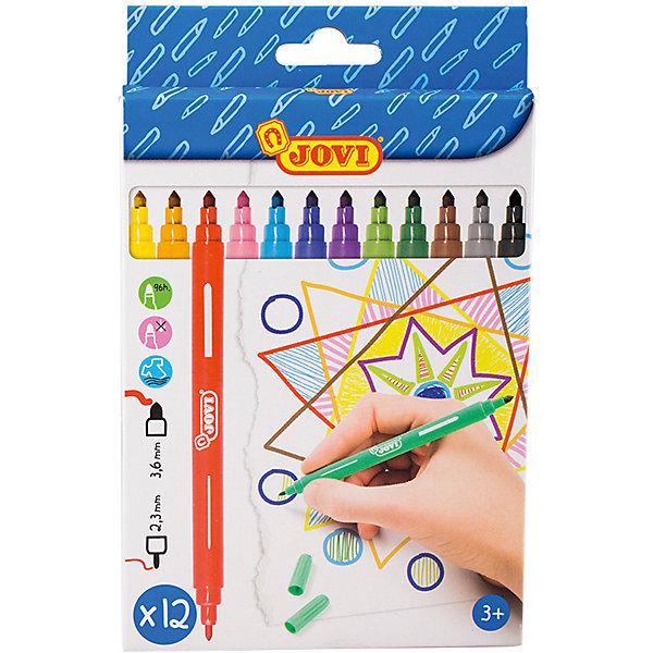 Фломастеры двусторонние 12 цветов JOVIФломастеры<br>Характеристики:<br><br>• материал: пластик;<br>• количество: 12шт.; <br>• упаковка: картон;<br>• размер упаковки: 19х12х1см.;<br>• вес: 106г.;<br>• для детей в возрасте: от 3лет.;<br>• страна производитель: Испания.<br><br>Набор цветных двусторонних фломастеров бренда Jovi (Джови) станет отличным приобретением для школьников. Он создан из качественных, экологически чистых материалов, что очень важно для детских товаров.<br><br> Набор отлично подойдёт для детишек, любящих рисовать. Он состоит из двенадцати разноцветных фломастеров пишущих с двух сторон. Цвета очень яркие и насыщенные. Пользоваться ими удобно будет, не только детям, но и взрослым. Упаковкой служит картонка с красивым рисунком.<br><br>Использование набора позволит ребятам не только выполнять качественно школьные задания, но и создавать свои дизайнерские проекты. Развивать чувство стиля, фантазию и аккуратность.<br> <br>Набор цветных, двусторонних фломастеров можно купить в нашем интернет-магазине<br>Ширина мм: 190; Глубина мм: 120; Высота мм: 10; Вес г: 106; Возраст от месяцев: 36; Возраст до месяцев: 2147483647; Пол: Унисекс; Возраст: Детский; SKU: 7044297;