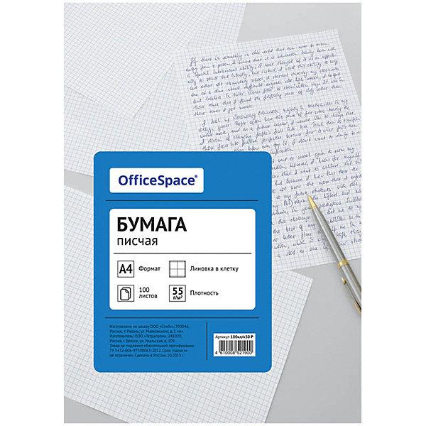 Бумага писчая А4 100 листов OfficeSpace, клеткаБумажная продукция<br>Характеристики товара:<br><br>• тип: бумага писчая;<br>• количество листов: 100 шт.;<br>• цвет: белый;<br>• линовка: клетка;<br>• формат: А4;<br>• плотность бумаги: 55;<br>• количество пачек в коробке: 15 шт;<br>• размер упаковки: 21,5х29х0,8 см.;<br>• вес: 380 гр.;<br>• страна обладатель бренда: Россия.<br><br>Бумага предназначена для письма, секретарских работ, печати документации и изготовления печатной продукции на ризографах, матричных принтерах, малых печатных машинах.<br><br>Бумагу писчую можно купить в нашем интернет-магазине.<br>Ширина мм: 215; Глубина мм: 290; Высота мм: 8; Вес г: 380; Возраст от месяцев: 60; Возраст до месяцев: 2147483647; Пол: Унисекс; Возраст: Детский; SKU: 7044300;