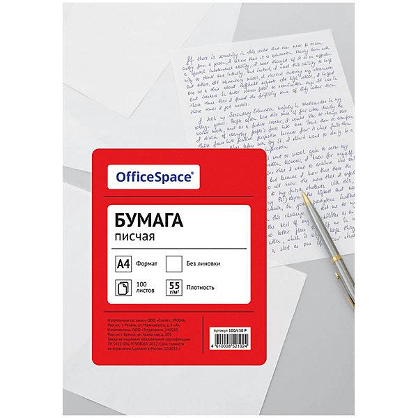 Бумага писчая А4 100 листов OfficeSpace, нейлоноваяБумажная продукция<br>Характеристики товара:<br><br>• тип: бумага писчая нейлоновая;<br>• количество листов: 100 шт.;<br>• цвет: белый;<br>• линовка: нет;<br>• формат: А4;<br>• плотность бумаги: 55;<br>• количество пачек в коробке: 15 шт;<br>• размер упаковки: 29,5х21х0,7 см.;<br>• вес: 382 гр.;<br>• страна обладатель бренда: Россия.<br><br>Бумага предназначена для письма, секретарских работ, печати документации и изготовления печатной продукции на ризографах, матричных принтерах, малых печатных машинах.<br><br>Бумагу писчую можно купить в нашем интернет-магазине.<br><br>Ширина мм: 295<br>Глубина мм: 210<br>Высота мм: 7<br>Вес г: 382<br>Возраст от месяцев: 60<br>Возраст до месяцев: 2147483647<br>Пол: Унисекс<br>Возраст: Детский<br>SKU: 7044301