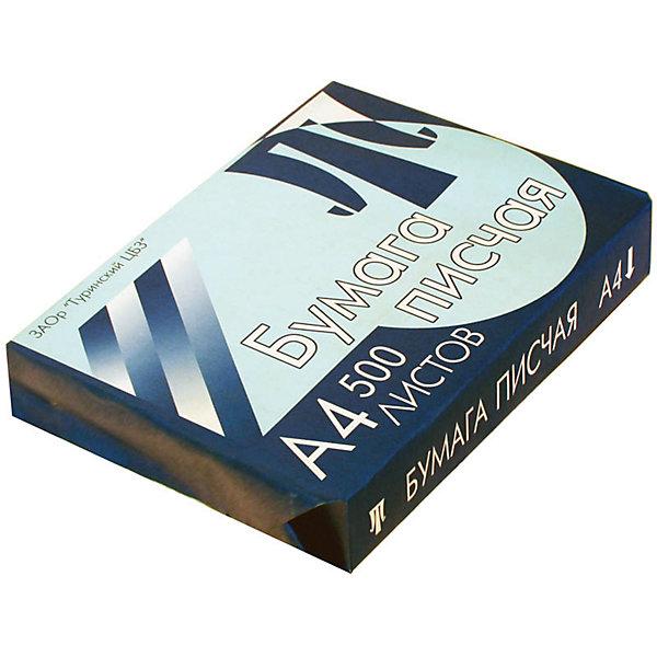 Бумага писчая А4 500листов ТуринскБумажная продукция<br>Характеристики товара:<br><br>• тип: бумага писчая;<br>• количество листов: 500 шт.;<br>• цвет: белый;<br>• линовка: нет;<br>• формат: А4;<br>• количество пачек в коробке: 5 шт;<br>• плотность бумаги: 65;<br>• размер упаковки: 30х21х4,3 см.;<br>• вес: 2,12 кг.;<br>• страна обладатель бренда: Россия.<br><br>Бумага потребительская или бумага для пишущих машин и ризографов обладает более низкой плотностью и белизной.<br><br>Применяется для ведения записи ручками и другими пишущими принадлежностями, либо пишущими машинами.<br><br>Бумагу писчую можно купить в нашем интернет-магазине.<br>Ширина мм: 300; Глубина мм: 210; Высота мм: 43; Вес г: 2120; Возраст от месяцев: 60; Возраст до месяцев: 2147483647; Пол: Унисекс; Возраст: Детский; SKU: 7044304;