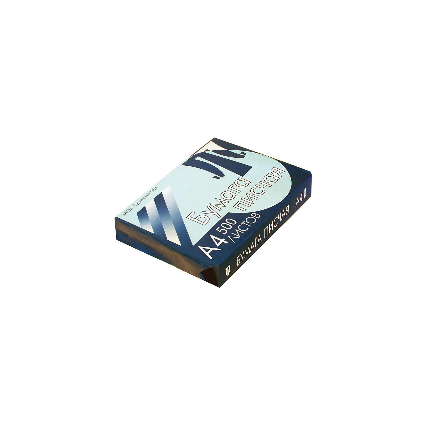 Бумага писчая А4 500листов ТуринскБумажная продукция<br>Плотность бумаги: 65<br>Формат : A4<br>Количество листов: 500<br>Белизна по ГОСТ: 94<br>Линовка: нет<br>Цвет: белый<br>Непрозрачность: 91<br>Количество пачек в коробке: 5<br>Бумага писчая или бумага для пишущих машин и ризографов обладает более низкой плотностью и белизной. Применяется для ведения записи ручками и другими пишущими принадлежностями, либо пишущими машинами. Формат А4, 500 листов, белая. Плотность бумаги - 65 г/м?. Цвет - белый, белизна 94%.<br><br>Ширина мм: 300<br>Глубина мм: 210<br>Высота мм: 43<br>Вес г: 2120<br>Возраст от месяцев: 60<br>Возраст до месяцев: 2147483647<br>Пол: Унисекс<br>Возраст: Детский<br>SKU: 7044304