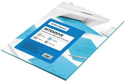Бумага цветная intensive А4 50 листов OfficeSpace, голубой