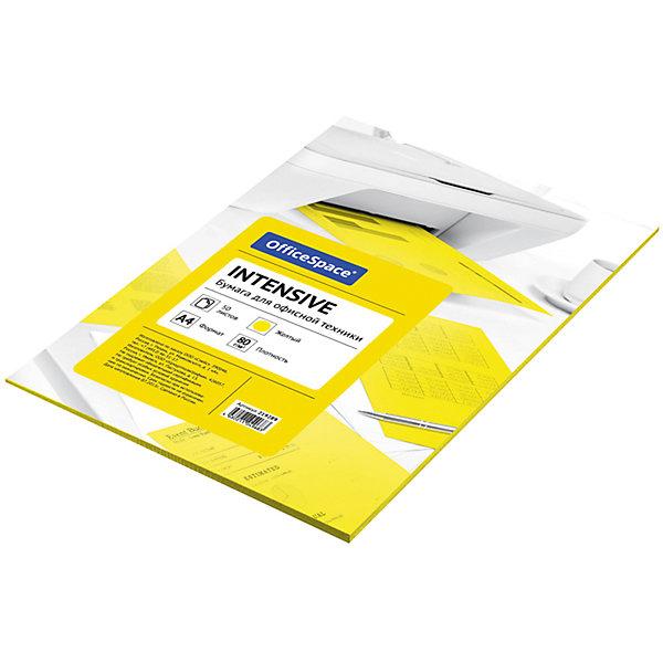 Бумага цветная intensive А4 50 листов OfficeSpace, желтыйБумажная продукция<br>Характеристики товара:<br><br>• тип: цветная бумага;<br>• цвет: желтый;<br>• плотносить бумаги: 80 г.;<br>• формат бумаги: А4;<br>• количество листов: 50 шт;<br>• упаковка: т/у пленка с картонной подложкой;<br>• размер упаковки: 30х21х0,6 см.;<br>• вес: 300 гр.;<br>• страна обладатель бренда: Россия.<br><br>Набор цветной бумаги предназначен как для творчества, хобби, моделирования, оформления, так и идеально подходит для печати на любой офисной технике.<br><br>Идеально подходит для документов, презентаций, рекламных материалов, открыток. <br><br>Цветную бумагу можно купить в нашем интернет-магазине.<br>Ширина мм: 300; Глубина мм: 210; Высота мм: 6; Вес г: 300; Возраст от месяцев: 60; Возраст до месяцев: 2147483647; Пол: Унисекс; Возраст: Детский; SKU: 7044311;