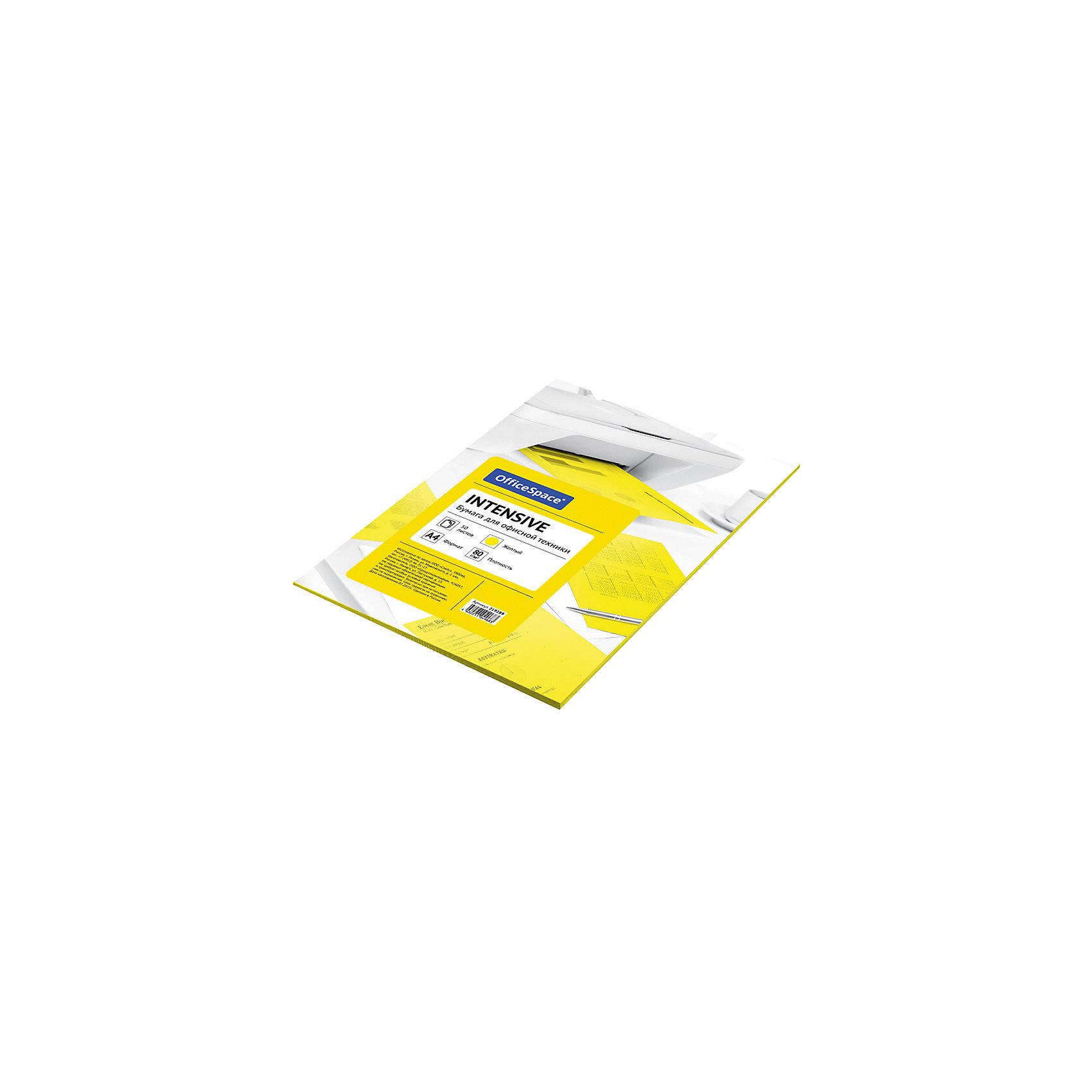 Бумага цветная intensive А4 50 листов OfficeSpace, желтыйБумажная продукция<br>Плотность бумаги: 80 <br>Формат : A4<br>Количество листов: 50<br>Цвет: желтый<br>Насыщенность цвета: интенсивный<br>Толщина: 103<br>Непрозрачность: 92<br>Количество цветов в пачке: 1<br>Количество пачек в коробке: 20<br>Цветная бумага формата А4, плотность 80 г/м2, цвет - желтый интенсив, 50 листов, упаковка - т/у пленка с картонной подложкой.<br><br>Ширина мм: 300<br>Глубина мм: 210<br>Высота мм: 6<br>Вес г: 300<br>Возраст от месяцев: 60<br>Возраст до месяцев: 2147483647<br>Пол: Унисекс<br>Возраст: Детский<br>SKU: 7044311