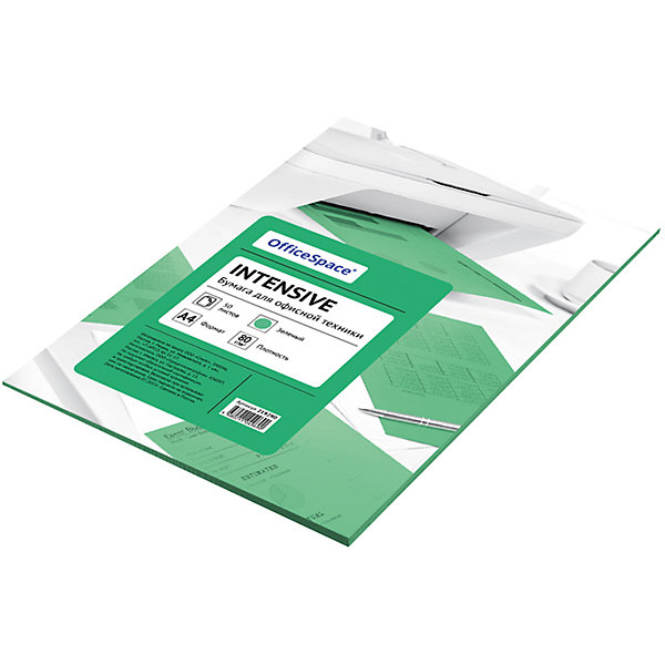 Бумага цветная intensive А4 50 листов OfficeSpace, зеленыйБумажная продукция<br>Характеристики товара:<br><br>• тип: цветная бумага;<br>• цвет: зеленый;<br>• плотносить бумаги: 80 г.;<br>• формат бумаги: А4;<br>• количество листов: 50 шт;<br>• упаковка: т/у пленка с картонной подложкой;<br>• размер упаковки: 30х21х0,6 см.;<br>• вес: 300 гр.;<br>• страна обладатель бренда: Россия.<br><br>Набор цветной бумаги предназначен как для творчества, хобби, моделирования, оформления, так и идеально подходит для печати на любой офисной технике.<br><br>Идеально подходит для документов, презентаций, рекламных материалов, открыток. <br><br>Цветную бумагу можно купить в нашем интернет-магазине.<br>Ширина мм: 300; Глубина мм: 210; Высота мм: 6; Вес г: 300; Возраст от месяцев: 60; Возраст до месяцев: 2147483647; Пол: Унисекс; Возраст: Детский; SKU: 7044312;