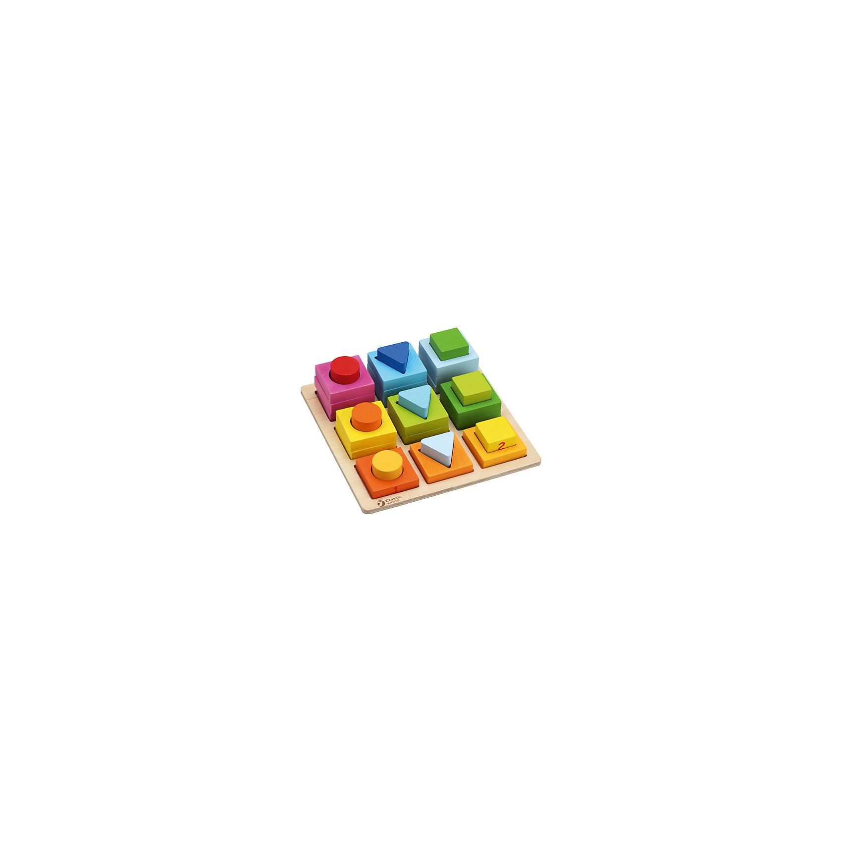 Сортер Геометрические блоки Classic WorldРазвивающие игрушки<br>Характеристики:<br><br>• возраст: от 1 года<br>• количество элементов: 28<br>• размер основы: 22,5х22,5 см.<br>• материал: дерево<br>• размер упаковки: 23,5х23,5х5,5 см.<br>• вес: 750 гр.<br><br>Развивающая игрушка - сортер «Геометрические блоки» познакомит ребенка с понятиями формы, цвета и размера предметов, научит основам логики, сравнительного анализа и математики.<br><br>Приятные на ощупь формы и фигурки изготовлены из качественно обработанного чайного дерева, имеют идеально гладкую текстуру и окрашены безопасными красками.<br><br>Сортер Геометрические блоки Classic World можно купить в нашем интернет-магазине.<br><br>Ширина мм: 235<br>Глубина мм: 235<br>Высота мм: 55<br>Вес г: 750<br>Возраст от месяцев: 12<br>Возраст до месяцев: 2147483647<br>Пол: Унисекс<br>Возраст: Детский<br>SKU: 7044535