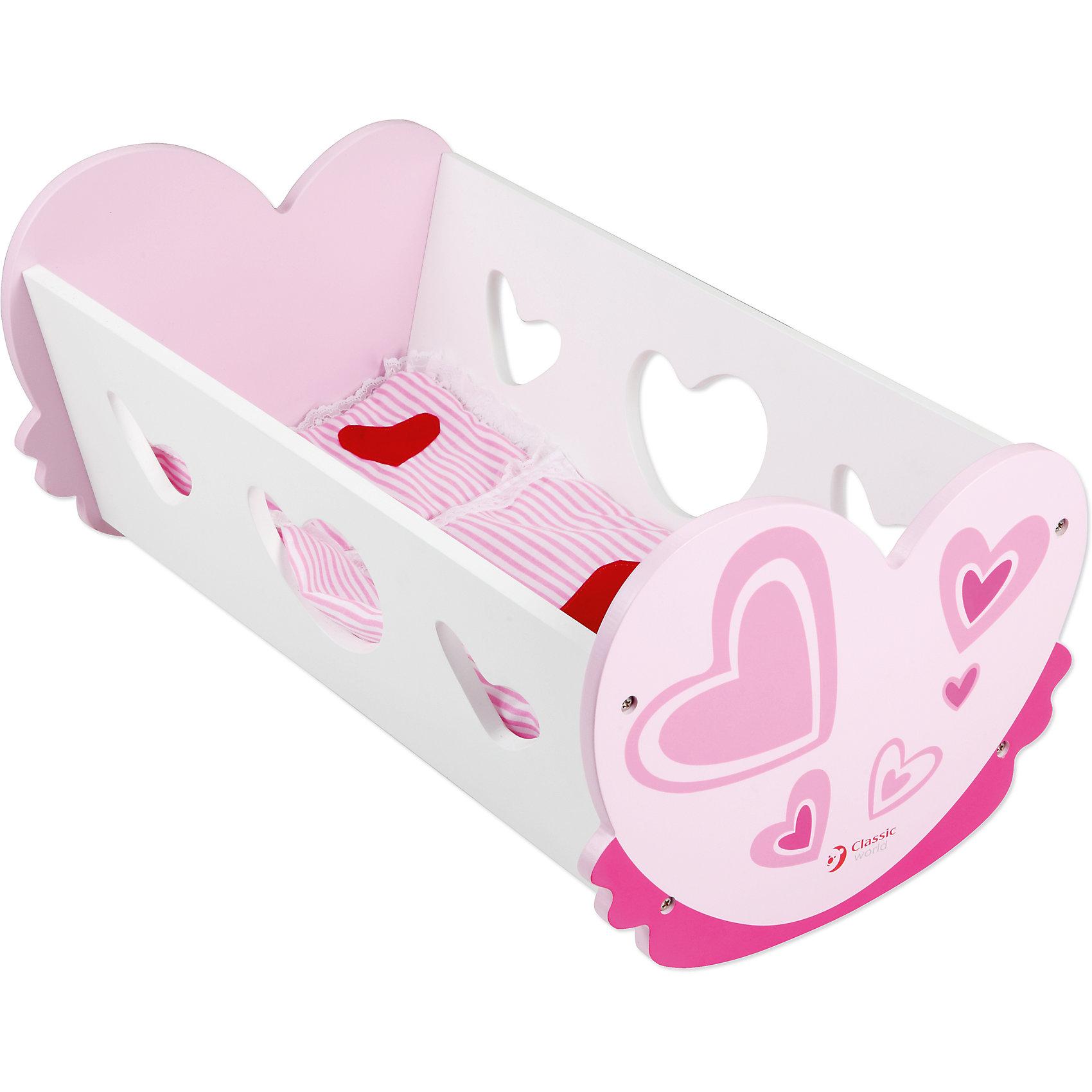 Кроватка для куколки Classic WorldДомики и мебель<br>Красивая игрушечная колыбель непременно понравится вашей малышке!Теперь любимая кукла сможет иметь свою кроватку, ее можно будет укладывать спать и петь песенки на ночь. <br>1. Играя с колыбелью, ваша дочка станет более ответственной, сможет представить себя мамой, заботящейся о своем ребенке. <br>2. Кроме того, девочка поймет смысл сюжетной игры, разовьет воображение и образное мышление.<br>3. Игрушка изготовлена из экологически чистого  дерева, что очень важно при выборе детских товаров.<br><br>Ширина мм: 460<br>Глубина мм: 55<br>Высота мм: 270<br>Вес г: 2000<br>Возраст от месяцев: 36<br>Возраст до месяцев: 2147483647<br>Пол: Женский<br>Возраст: Детский<br>SKU: 7044536