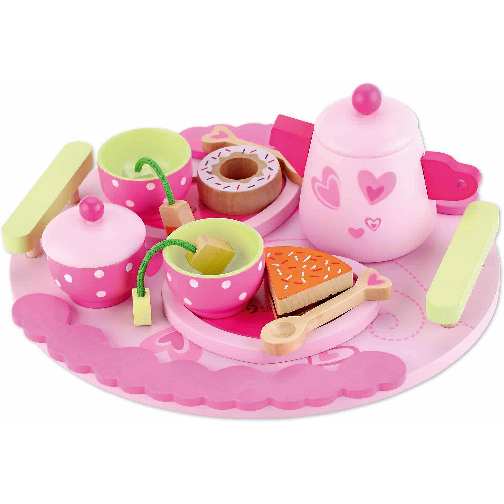 Столовый набор из дерева Чайная вечеринка, Classic WorldПосуда и аксессуары для детской кухни<br>1. В набор входит: чайник, 2 чашки, 2 ложки, 1 большой поднос, 3 тарелочки,  2 пакетика с чаем, 3 десерта, сахарница<br>2. Играй весело и увлекательно! Стильный набор прекрасно подойдёт для захватывающих сюжетно-ролевых игр. Пригласи друзей или угости любимых кукол изысканными пирожными и вкусным чаем. <br>3. Ребёнок сможет придумать разнообразные сюжеты вечеринок, что прекрасно способствует развитию творческого мышления <br>4. С помощью такого интересного набора детей постарше можно познакомить с чайной церемонией и дать основы этикета. <br>5. Игрушка выполнена из высококачественных материалов, а значит вы будете уверены в безопасности Вашего ребёнка.<br><br>Ширина мм: 250<br>Глубина мм: 100<br>Высота мм: 235<br>Вес г: 670<br>Возраст от месяцев: 36<br>Возраст до месяцев: 2147483647<br>Пол: Женский<br>Возраст: Детский<br>SKU: 7044540