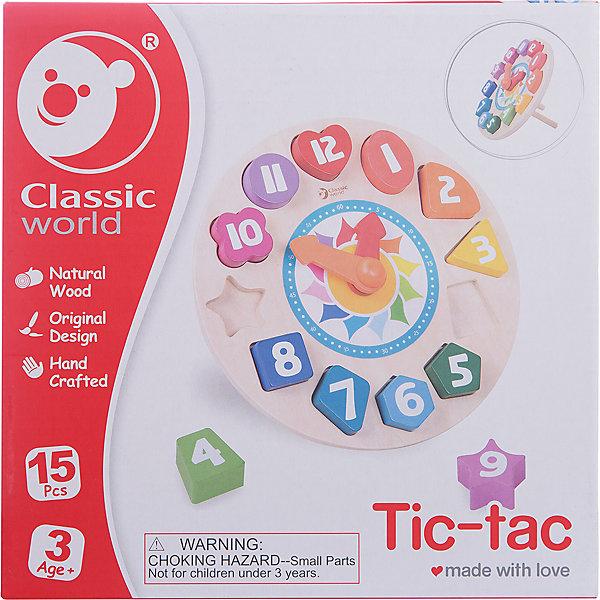 Деревянная рамка вкладыш Classic World Часы Тик-ТакДеревянные игрушки<br>Характеристики:<br><br>• возраст: от 1 года<br>• комплектация: деревянная рамка со стрелками, 12 геометрических фигур с цифрами<br>• материал: дерево<br>• упаковка: картонная коробка<br>• размер упаковки: 26х26х3 см.<br>• вес: 410 гр.<br><br>Рамка-вкладыш «Часы Тик-Так» познакомит ребенка с понятием времени, геометрическими фигурами, цифрами от 1 до 12 и цветом.<br><br>Разноцветные часики с подвижными стрелками помогут ребенку научиться правильно, определять время. В рамке часов есть специальные выемки, в которые ребенку нужно будет правильно вставить разноцветные детали с цифрами. Все детали имеют разную форму.<br><br>Игрушка изготовлена из экологически чистого дерева, для окрашивания использованы краски на водной основе. Поверхность всех элементов набора тщательно обработана.<br><br>Деревянную рамку вкладыш Classic World Часы Тик-Так можно купить в нашем интернет-магазине.<br>Ширина мм: 260; Глубина мм: 30; Высота мм: 260; Вес г: 410; Возраст от месяцев: 12; Возраст до месяцев: 2147483647; Пол: Унисекс; Возраст: Детский; SKU: 7044541;