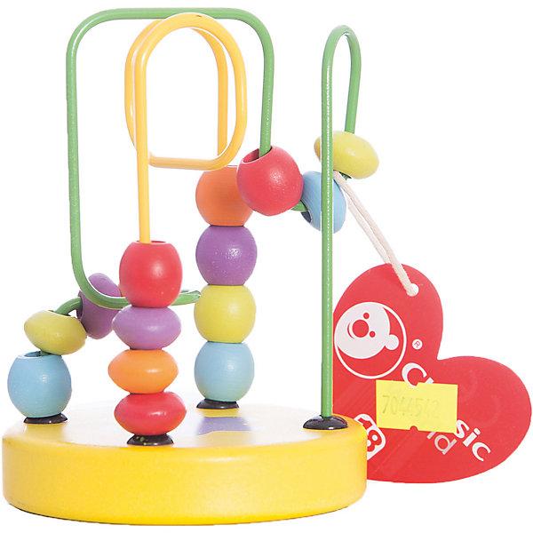Деревянный лабиринт мини-формата Classic World Бусины и горкиДеревянные игрушки<br>Характеристики:<br><br>• возраст: от 1 года<br>• материал: дерево, металл<br>• упаковка: картонная коробка<br>• размер упаковки: 32,5х22х14,5 см.<br>• вес: 200 гр.<br><br>Деревянный лабиринт мини-формата «Бусины и горки» поможет познакомить малыша с базовыми цветами, а также развить пространственное мышление и мелкую моторику.<br><br>Передвигая яркие бусины по цветным проволокам, изогнутым под различными углами, ребенок учится анализировать: как сделать так, чтобы бусина с одного конца лабиринта переместилась на другой, и чтобы нанизанные на проволоку бусины не столкнулись между собой.<br><br>Лабиринт изготовлен из высококачественных материалов. Игрушка удобна тем, что ее можно брать в дорогу.<br><br>Деревянный лабиринт мини-формата Classic World Бусины и горки можно купить в нашем интернет-магазине.<br><br>Ширина мм: 325<br>Глубина мм: 220<br>Высота мм: 145<br>Вес г: 200<br>Возраст от месяцев: 12<br>Возраст до месяцев: 2147483647<br>Пол: Унисекс<br>Возраст: Детский<br>SKU: 7044542