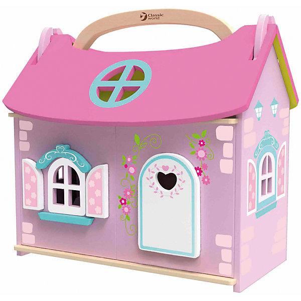Деревянный домик-чемодан с мебелью и куклой Classic World Домик маленькой принцессыДомики для кукол<br>Характеристики:<br><br>• возраст: от 3 лет<br>• в наборе: домик, фигурка принцессы, 10 предметов мебели (шкаф, кровать, 2 тумбочки, лампа, кресло, стол, стул, зеркало с раковиной, ванна)<br>• материал: дерево, текстиль, металл<br>• размер упаковки: 60х47х16 см.<br>• вес: 2 кг.<br><br>Яркий домик-чемодан «Домик маленькой принцессы» с удобной ручкой для переноски порадует девочку красочным оформлением и удобной конструкцией. Его удобно брать с собой в дорогу или во двор.<br><br>Чемоданчик трансформируется в кукольный домик. Двускатная крыша раскладывается: снимите одну части и положите внутренней стороной вверх около дома - перед вами лужайка. У домика два этажа - нижний и мансардный. Боковая часть чемоданчика распахивается, открывая доступ к внутреннему помещению. Домик обставлен стильной мебелью. Фигурка принцессы, входящая в комплект, устойчиво стоит без опоры. Домик подходит для кукол и фигурок животных до 15 см.<br><br>Игрушка выполнена из высококачественных материалов, для окрашивания использованы краски безопасные для здоровья ребенка.<br><br>Деревянный домик-чемодан с мебелью и куклой Classic World Домик маленькой принцессы можно купить в нашем интернет-магазине.<br><br>Ширина мм: 600<br>Глубина мм: 470<br>Высота мм: 160<br>Вес г: 2000<br>Возраст от месяцев: 36<br>Возраст до месяцев: 2147483647<br>Пол: Унисекс<br>Возраст: Детский<br>SKU: 7044544
