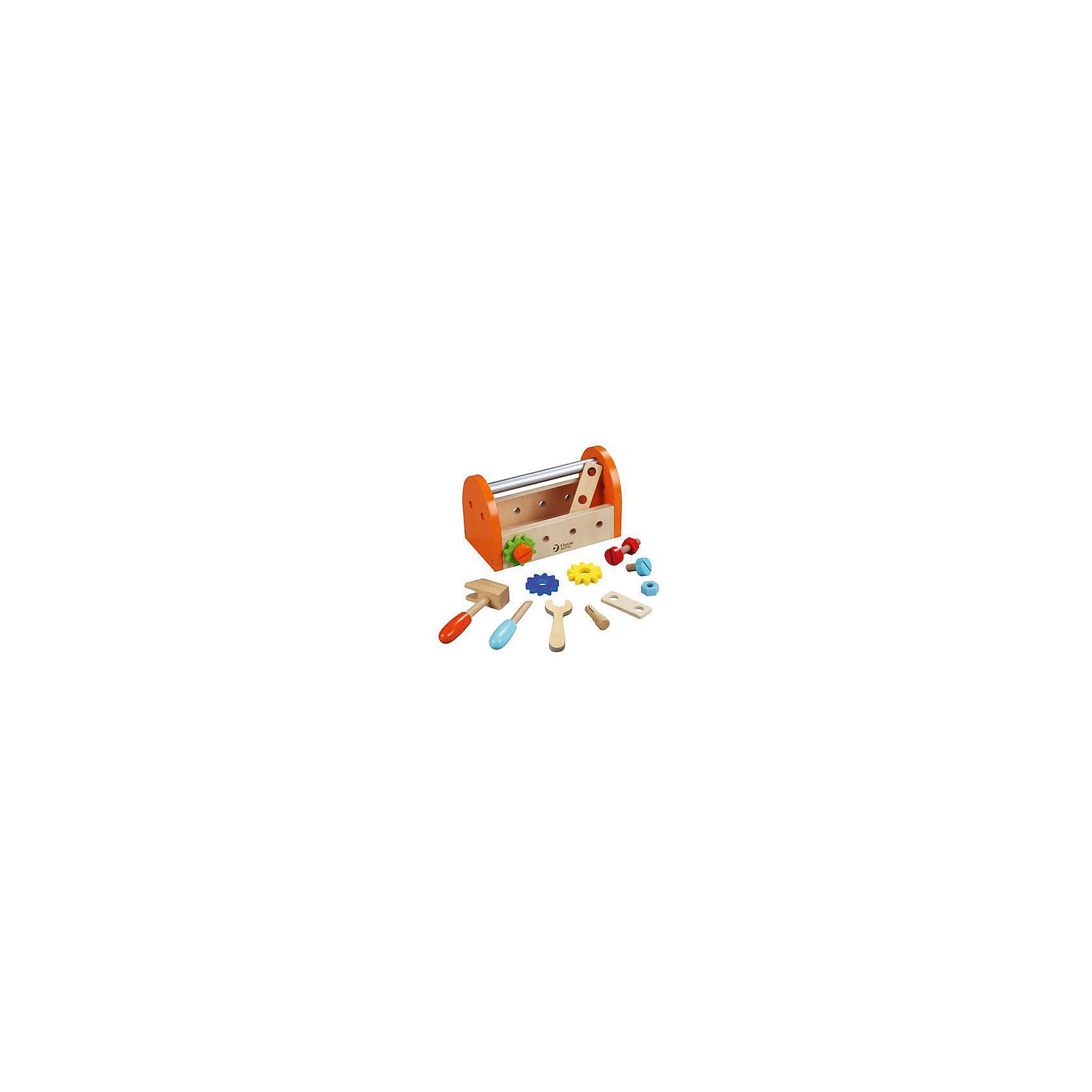 Набор инструментов из дерева Classic World Маленький столярНаборы инструментов<br>Характеристики:<br><br>• возраст: от 3 лет<br>• в наборе 16 предметов: ящик с ручкой, молоток, отвертка, гаечный ключ, детали-плашки, болты, гайки, шестеренки<br>• материал: дерево, металл<br>• упаковка: картонная коробка<br>• размер упаковки: 20х13х25 см.<br>• вес: 400 гр.<br><br>Игровой набор «Маленький столяр» непременно порадует каждого мальчишку. В удобном деревянном ящике с металлической ручкой малыш найдет все необходимые инструменты для ремонта. На боковых стенках ящика имеются отверстия, в которые ребенок сможет вкручивать болты. С набором малыш сможет играть в различные ролевые игры и выполнять различные ремонтные работы.<br><br>Набор отлично развивает мелкую моторику, логику, визуальные и сенсорные навыки.<br><br>Все инструменты в наборе выполнены из высококачественного дерева и вручную окрашены яркими безопасными красками. Набор удобно брать с собой на прогулки и в дорогу, он не занимает много места.<br><br>Игровой набор совместим с такими хитами, как «Набор столяра» и «Пояс столяра» от Classic Worl.<br><br>Набор инструментов из дерева Classic World Маленький столяр можно купить в нашем интернет-магазине.<br><br>Ширина мм: 200<br>Глубина мм: 130<br>Высота мм: 250<br>Вес г: 400<br>Возраст от месяцев: 36<br>Возраст до месяцев: 2147483647<br>Пол: Мужской<br>Возраст: Детский<br>SKU: 7044546