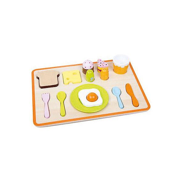 Деревянный сортер Classic World Завтрак на подносеРазвивающие игрушки<br>Характеристики:<br><br>• возраст: от 3 лет<br>• в наборе: поднос, вилка, нож, 2 ложки, стакан, перечница, солонка, капкейк, кусочек торта, тост, сыр, яичница<br>• размер подноса: 35х25х5 см.<br>• материал: дерево<br>• упаковка: картонная коробка<br>• размер упаковки: 26х36х7 см.<br>• вес: 1,12 кг.<br><br>Сортер «Завтрак на подносе» наглядно познакомит ребенка с понятиями формы, цвета и размера предметов, научит основам логики. Приятные на ощупь фигурки, выполненные в виде столовых приборов и угощений, изготовлены из качественно обработанного дерева, имеют идеально гладкую текстуру и окрашены безопасными красками.<br><br>Деревянный сортер Classic World Завтрак на подносе можно купить в нашем интернет-магазине.<br><br>Ширина мм: 260<br>Глубина мм: 360<br>Высота мм: 70<br>Вес г: 1120<br>Возраст от месяцев: 36<br>Возраст до месяцев: 2147483647<br>Пол: Унисекс<br>Возраст: Детский<br>SKU: 7044550