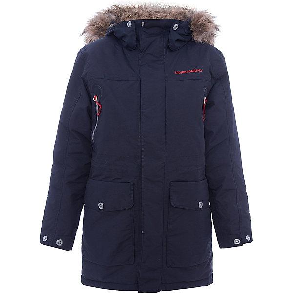 Куртка ROGER DIDRIKSONSВерхняя одежда<br>Характеристики товара:<br><br>• цвет: синий<br>• состав ткани: 100% полиамид<br>• подкладка: 100% полиэстер<br>• утеплитель: 100% полиэстер<br>• сезон: зима<br>• мембранное покрытие<br>• температурный режим: от -20 до 0<br>• водонепроницаемость: 5000 мм <br>• паропроницаемость: 4000 г/м2<br>• плотность утеплителя: 200г/м2<br>• регулируемый съемный капюшон<br>• съемный искусственный мех на капюшоне<br>• застежка: молния, утяжка<br>• регулируемые манжеты, пояс и низ изделия<br>• внутренние эластичные манжеты<br>• меховая спинка<br>• страна бренда: Швеция<br>• страна изготовитель: Китай<br><br>Мембранная детская куртка отлично подойдет для зимних морозов. Мягкая подкладка детской куртки делает её очень комфортной. Эта теплая куртка для мальчика дополнена удобным капюшоном, планкой от ветра и карманами. Плотный верх детской зимней куртки не промокает и не продувается, его легко чистить. <br><br>Куртку Roger Didriksons (Дидриксонс) можно купить в нашем интернет-магазине.<br><br>Ширина мм: 356<br>Глубина мм: 10<br>Высота мм: 245<br>Вес г: 519<br>Цвет: голубой<br>Возраст от месяцев: 96<br>Возраст до месяцев: 108<br>Пол: Унисекс<br>Возраст: Детский<br>Размер: 130,170,160,150,140<br>SKU: 7044694
