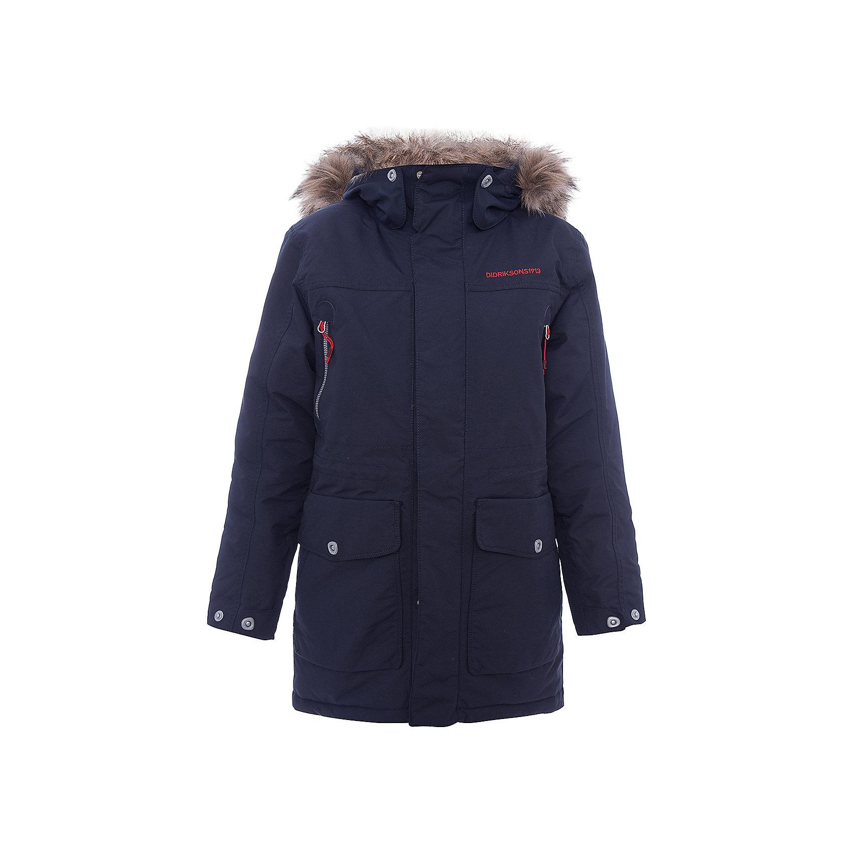 Куртка ROGER DIDRIKSONSВерхняя одежда<br>Характеристики товара:<br><br>• цвет: синий<br>• состав ткани: 100% полиамид<br>• подкладка: 100% полиэстер<br>• утеплитель: 100% полиэстер<br>• сезон: зима<br>• мембранное покрытие<br>• температурный режим: от -20 до 0<br>• водонепроницаемость: 5000 мм <br>• паропроницаемость: 4000 г/м2<br>• плотность утеплителя: 200г/м2<br>• регулируемый съемный капюшон<br>• съемный искусственный мех на капюшоне<br>• застежка: молния, утяжка<br>• регулируемые манжеты, пояс и низ изделия<br>• внутренние эластичные манжеты<br>• меховая спинка<br>• страна бренда: Швеция<br>• страна изготовитель: Китай<br><br>Мембранная детская куртка отлично подойдет для зимних морозов. Мягкая подкладка детской куртки делает её очень комфортной. Эта теплая куртка для мальчика дополнена удобным капюшоном, планкой от ветра и карманами. Плотный верх детской зимней куртки не промокает и не продувается, его легко чистить. <br><br>Куртку Roger Didriksons (Дидриксонс) можно купить в нашем интернет-магазине.<br><br>Ширина мм: 356<br>Глубина мм: 10<br>Высота мм: 245<br>Вес г: 519<br>Цвет: голубой<br>Возраст от месяцев: 168<br>Возраст до месяцев: 180<br>Пол: Унисекс<br>Возраст: Детский<br>Размер: 170,130,140,150,160<br>SKU: 7044694