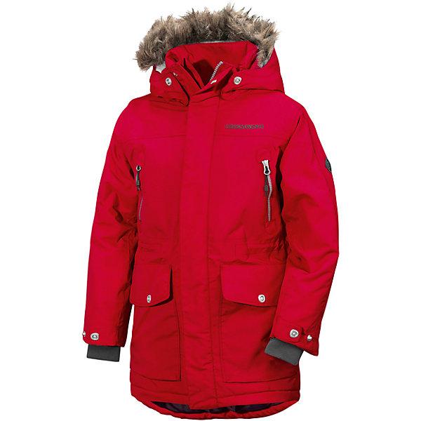 Куртка ROGER DIDRIKSONS для мальчикаВерхняя одежда<br>Характеристики товара:<br><br>• цвет: красный<br>• состав ткани: 100% полиамид<br>• подкладка: 100% полиэстер<br>• утеплитель: 100% полиэстер<br>• сезон: зима<br>• мембранное покрытие<br>• температурный режим: от +5 до -25С<br>• водонепроницаемость: 5000 мм <br>• паропроницаемость: 4000 г/м2<br>• плотность утеплителя: 200г/м2<br>• регулируемый съемный капюшон<br>• съемный искусственный мех на капюшоне<br>• застежка: молния, утяжка<br>• регулируемые манжеты, пояс и низ изделия<br>• внутренние эластичные манжеты<br>• меховая спинка<br>• застежка: молния, утяжка<br>• страна бренда: Швеция<br>• страна изготовитель: Китай<br><br>Непромокаемый и непродуваемый верх детской куртки не задерживает воздух. Модная куртка для мальчика Didriksons рассчитана даже на сильные морозы. Детская куртка от известного шведского бренда теплая и легкая. Мембранная зимняя куртка для ребенка отличается продуманным дизайном. <br><br>Куртку для мальчика Roger Didriksons (Дидриксонс) можно купить в нашем интернет-магазине.<br>Ширина мм: 356; Глубина мм: 10; Высота мм: 245; Вес г: 519; Цвет: красный; Возраст от месяцев: 132; Возраст до месяцев: 144; Пол: Мужской; Возраст: Детский; Размер: 150,170,140,160; SKU: 7044700;