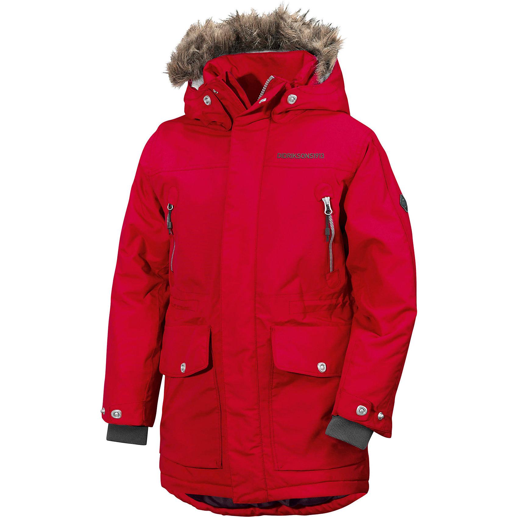 Куртка ROGER DIDRIKSONS для мальчикаВерхняя одежда<br>Характеристики товара:<br><br>• цвет: красный<br>• состав ткани: 100% полиамид<br>• подкладка: 100% полиэстер<br>• утеплитель: 100% полиэстер<br>• сезон: зима<br>• мембранное покрытие<br>• температурный режим: от +5 до -25С<br>• водонепроницаемость: 5000 мм <br>• паропроницаемость: 4000 г/м2<br>• плотность утеплителя: 200г/м2<br>• регулируемый съемный капюшон<br>• съемный искусственный мех на капюшоне<br>• застежка: молния, утяжка<br>• регулируемые манжеты, пояс и низ изделия<br>• внутренние эластичные манжеты<br>• меховая спинка<br>• застежка: молния, утяжка<br>• страна бренда: Швеция<br>• страна изготовитель: Китай<br><br>Непромокаемый и непродуваемый верх детской куртки не задерживает воздух. Модная куртка для мальчика Didriksons рассчитана даже на сильные морозы. Детская куртка от известного шведского бренда теплая и легкая. Мембранная зимняя куртка для ребенка отличается продуманным дизайном. <br><br>Куртку для мальчика Roger Didriksons (Дидриксонс) можно купить в нашем интернет-магазине.<br><br>Ширина мм: 356<br>Глубина мм: 10<br>Высота мм: 245<br>Вес г: 519<br>Цвет: красный<br>Возраст от месяцев: 168<br>Возраст до месяцев: 180<br>Пол: Мужской<br>Возраст: Детский<br>Размер: 170,140,150,160<br>SKU: 7044700