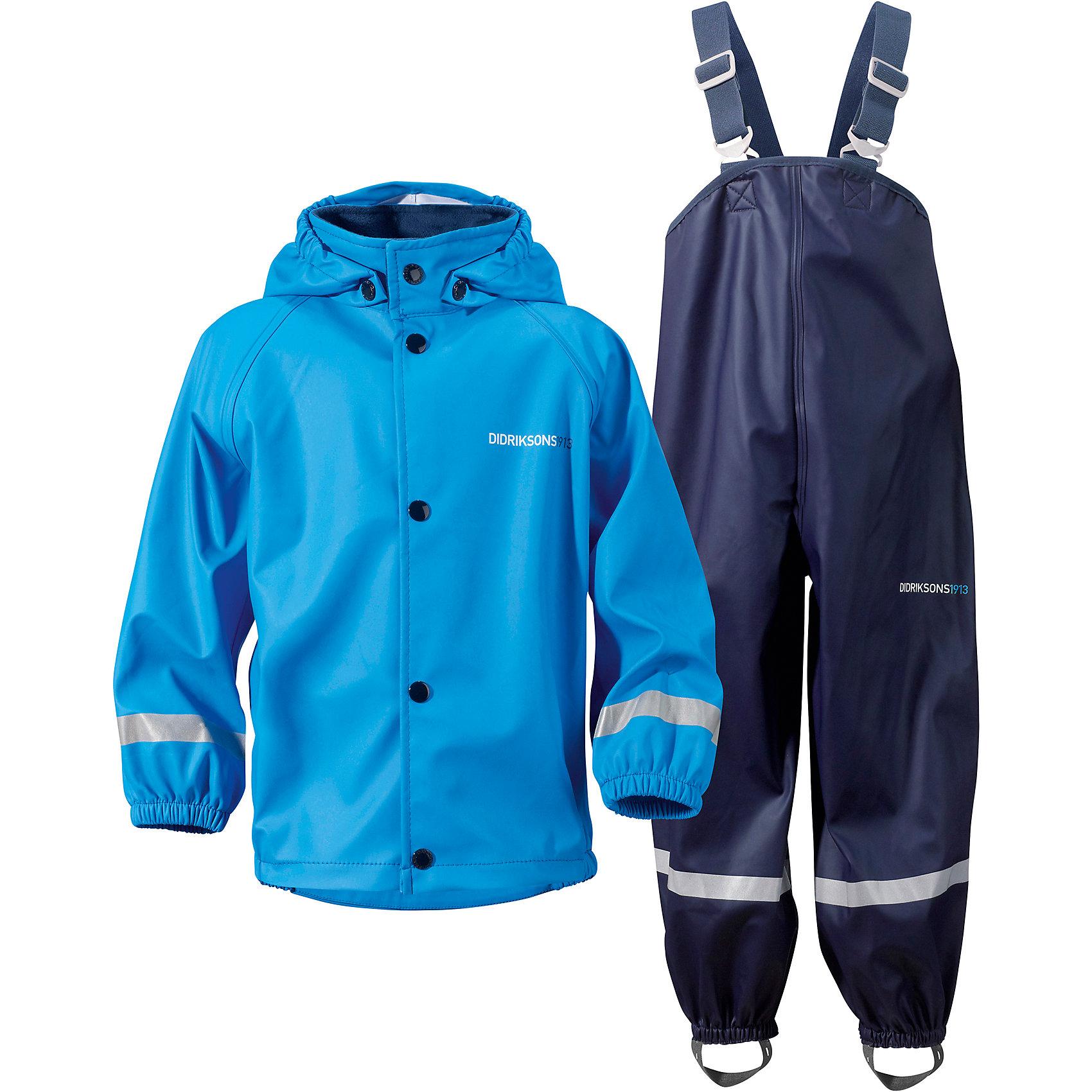 Комплект SLASKEMAN DIDRIKSONS для мальчикаВерхняя одежда<br>Характеристики товара:<br><br>• цвет: синий<br>• комплектация: куртка, полукомбинезон<br>• состав ткани: 100% полиуретан<br>• подкладка: 100% полиэстер (трикотаж)<br>• утеплитель: нет<br>• сезон: демисезон<br>• температурный режим: от +5 до +15<br>• влагонепроницаемость: 8000 мм <br>• все швы пропаяны<br>• непродуваемый<br>• капюшон: без меха, съемный<br>• штрипки<br>• застежка: кнопки<br>• манжеты на резинке<br>• фиксированные подтяжки<br>• страна бренда: Швеция<br>• страна изготовитель: Китай<br><br>Стильный комплект для дождливой погоды дополнен штрипками. Плотный верх детской куртки и полукомбинезона не промокает и не продувается, его легко чистить. Демисезонный комплект для ребенка отличается продуманным дизайном. Непромокаемый и непродуваемый верх детского комплекта усилен пропаянными швами. <br><br>Комплект для мальчика Slaskeman Didriksons (Дидриксонс) можно купить в нашем интернет-магазине.<br><br>Ширина мм: 356<br>Глубина мм: 10<br>Высота мм: 245<br>Вес г: 519<br>Цвет: голубой<br>Возраст от месяцев: 108<br>Возраст до месяцев: 120<br>Пол: Мужской<br>Возраст: Детский<br>Размер: 140,80,90,100,110,120,130<br>SKU: 7044743
